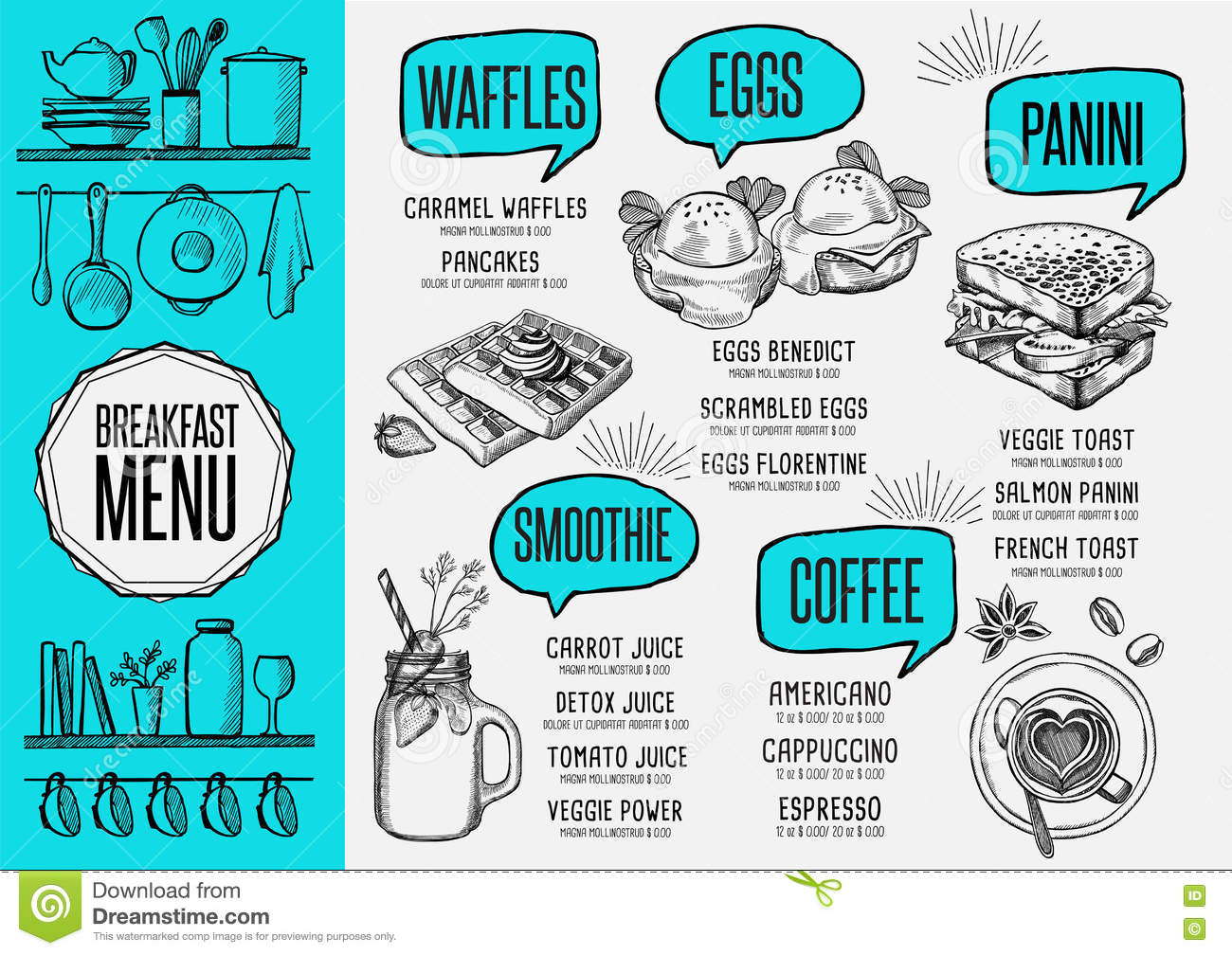 menu breakfast restaurant food template placemat stock vector menu breakfast restaurant food template placemat