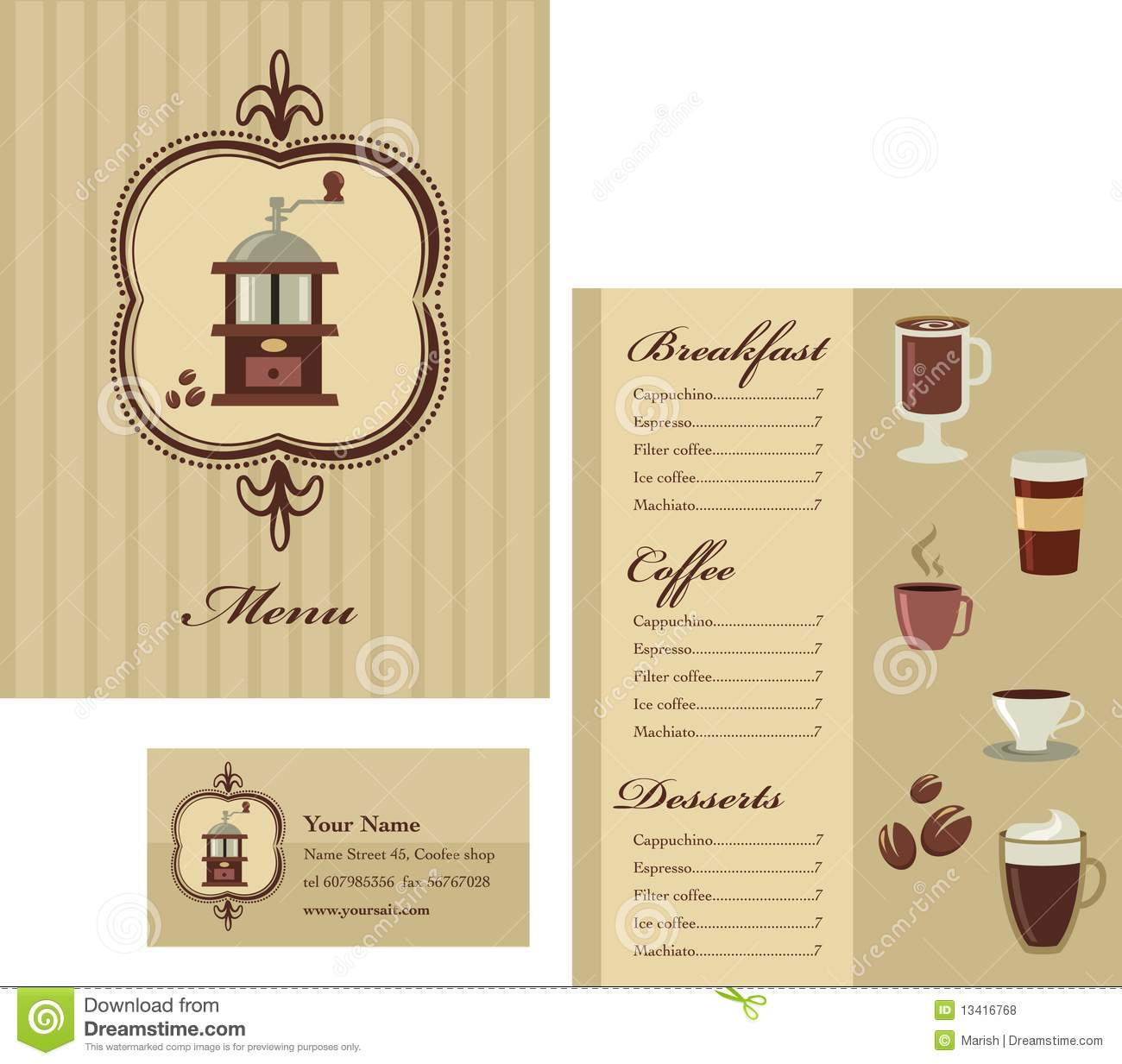 Menu and business card template design coffee stock vector menu and business card template design coffee fbccfo Choice Image
