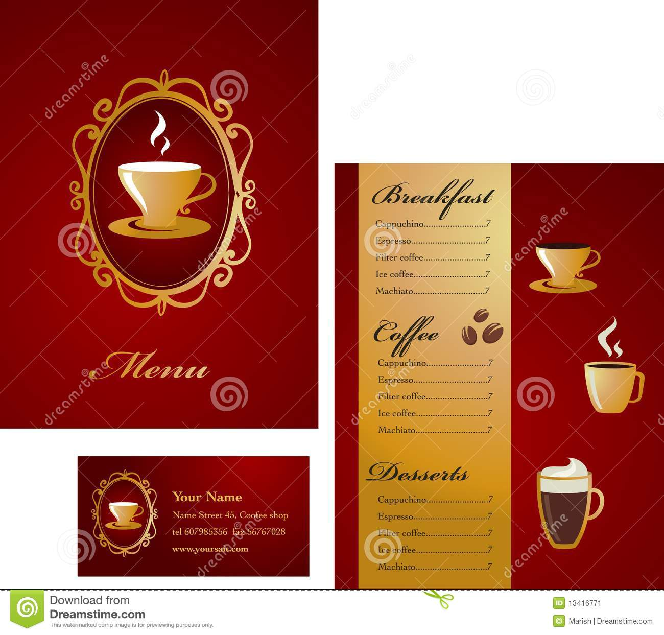 Menu And Business Card Template Design - Coffee Stock Image ...
