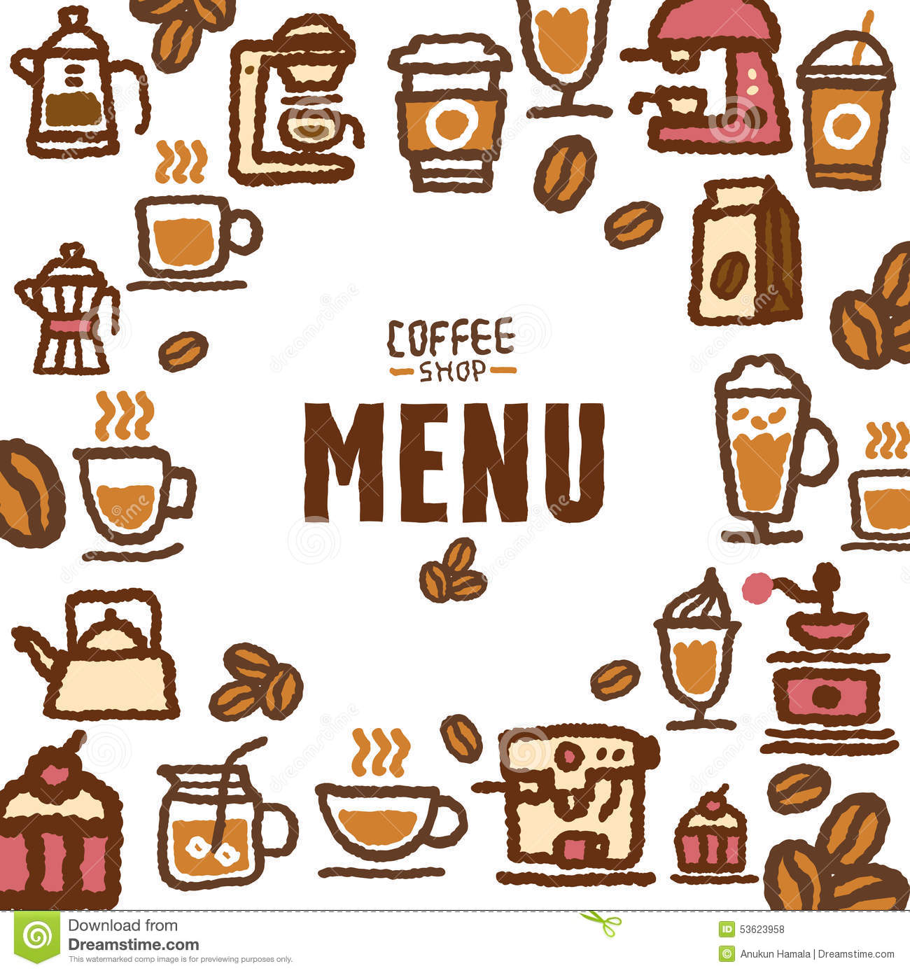 Tall Coffee Table Menu For Cafe And Coffee Shop Stock Vector Image 53623958