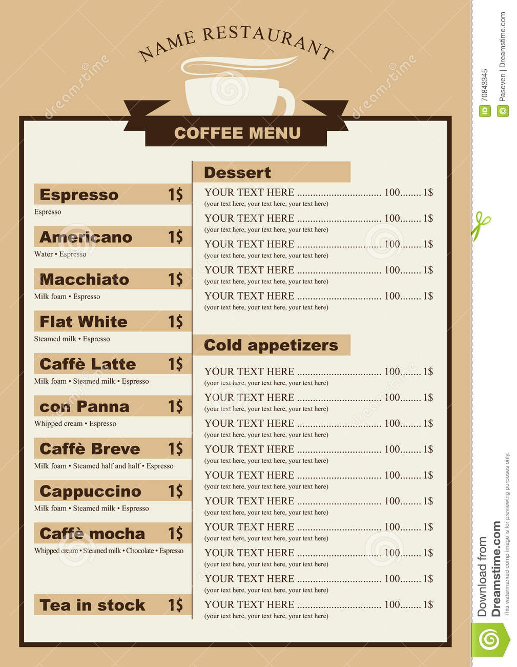 Menu For The Cafe With A Cup Of Coffee Stock Vector