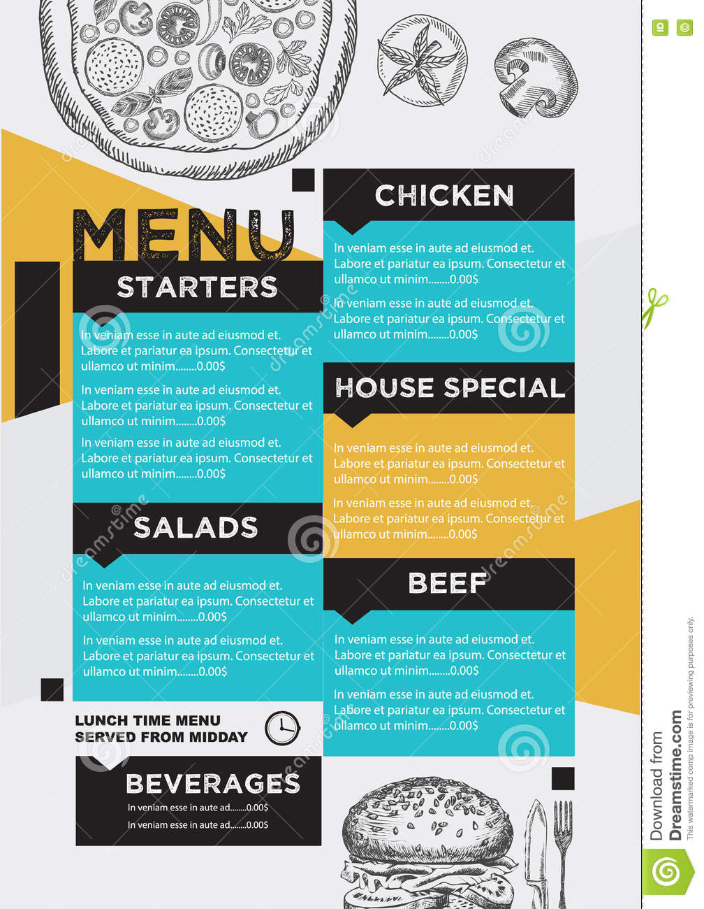 Menu cafe restaurant template placemat food board design