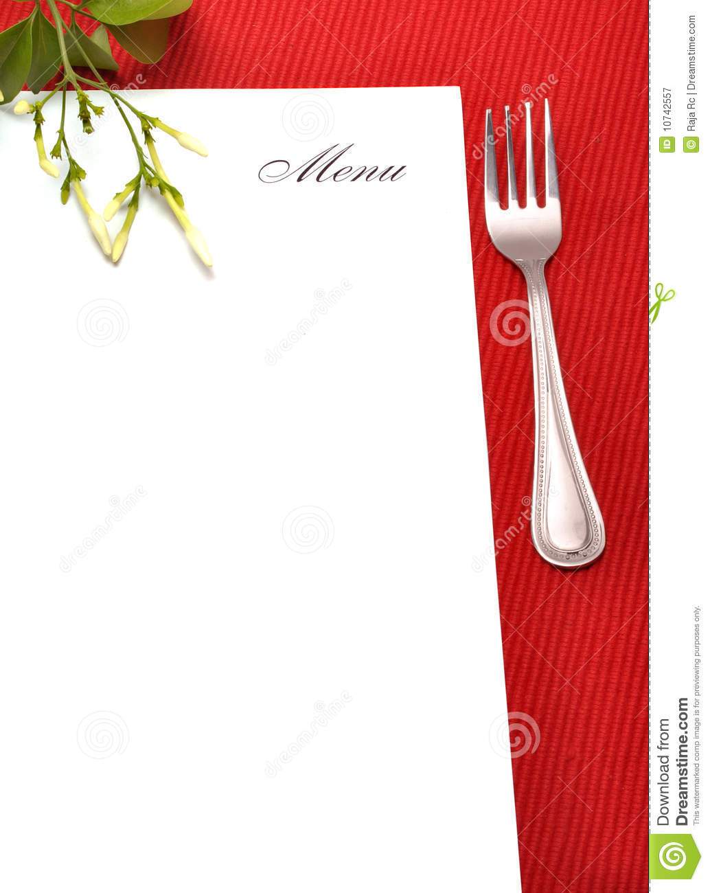 Menu Card Stock Image Of Recipe Flower Lunch