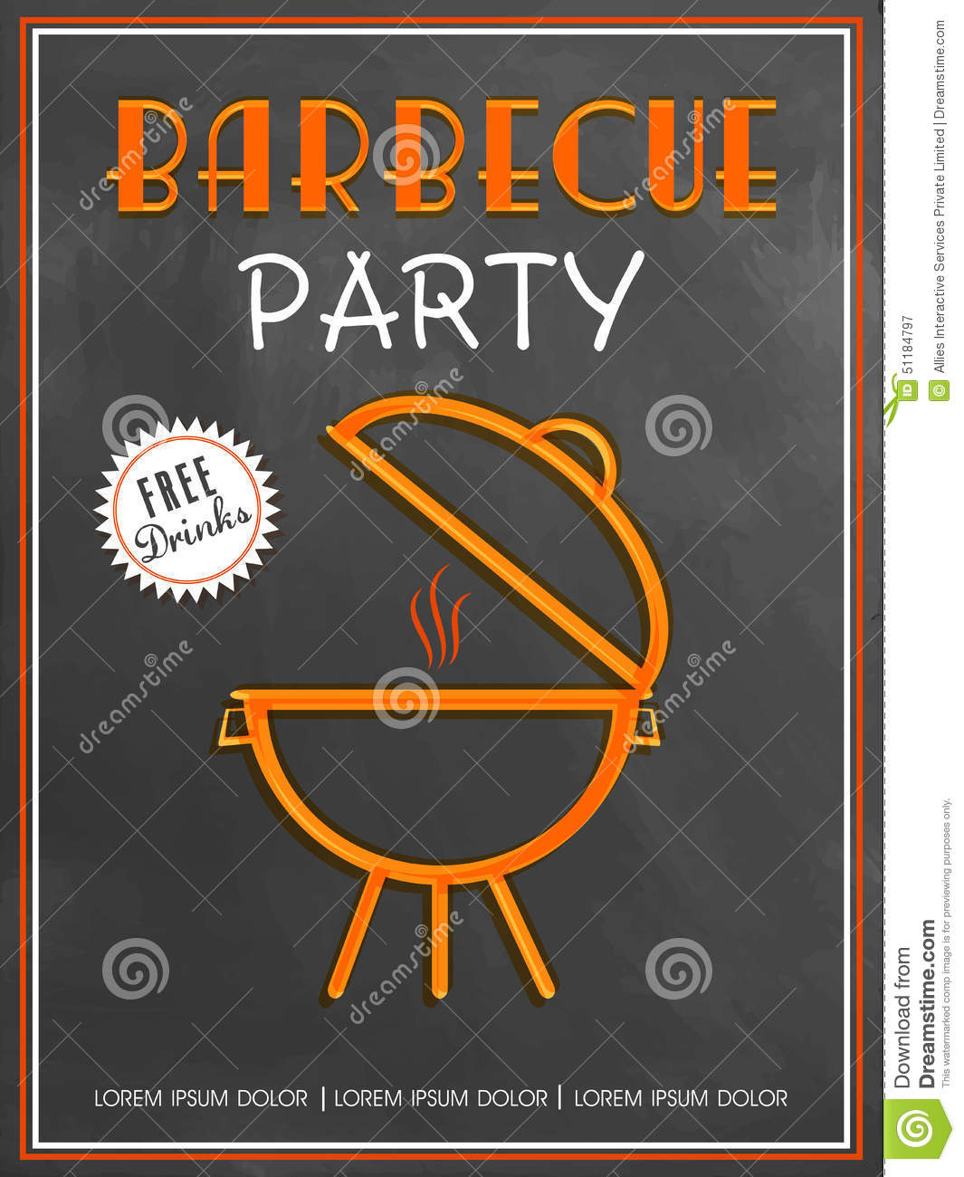 menu card design for barbecue party  stock illustration