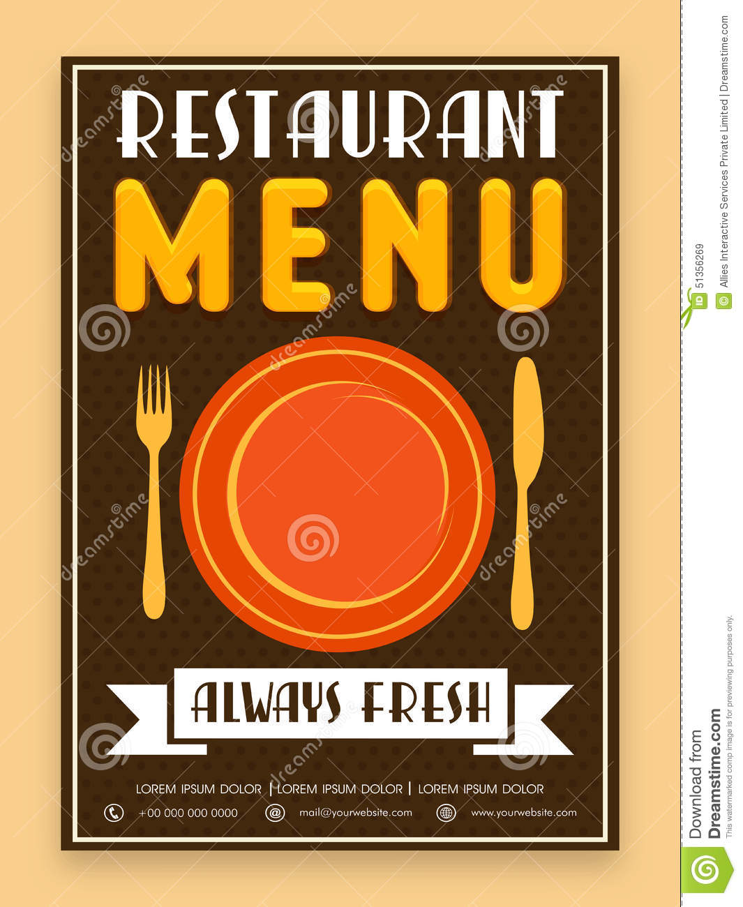 Menu Card Design For Restaurant. Stock Illustration - Image: 51356269