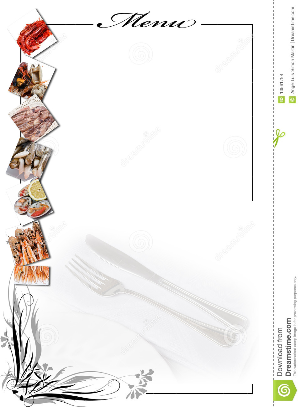 More similar stock images of ` Menu card for seafood in white. `
