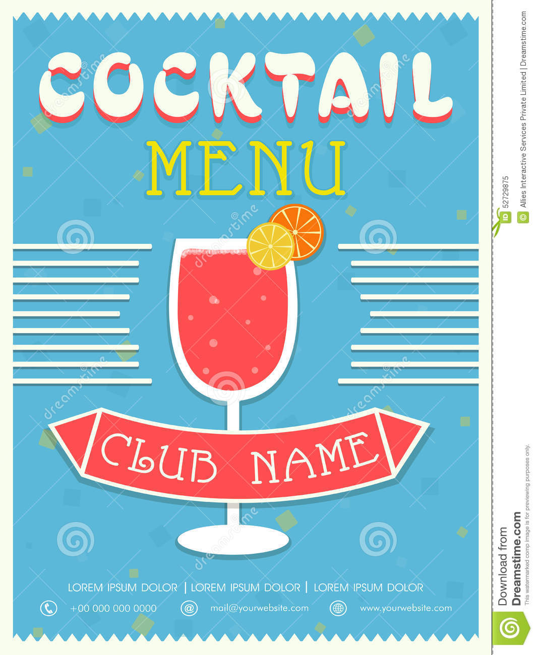 Menu Card Template Or Brochure Design For Cocktail – Cocktail Menu Template Free Download