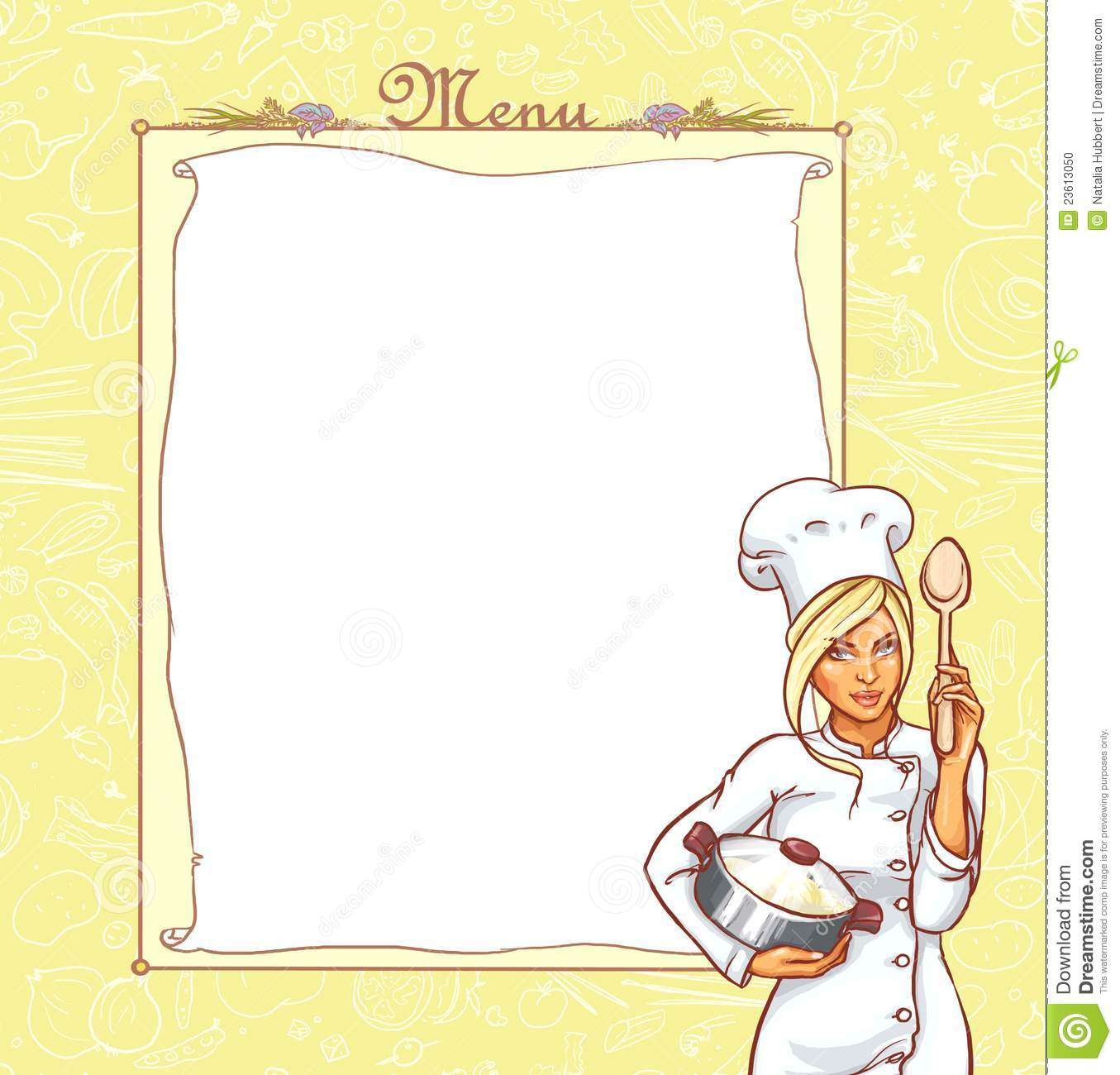 Menu Card With Ttractive Young Woman In Chef Suit Stock