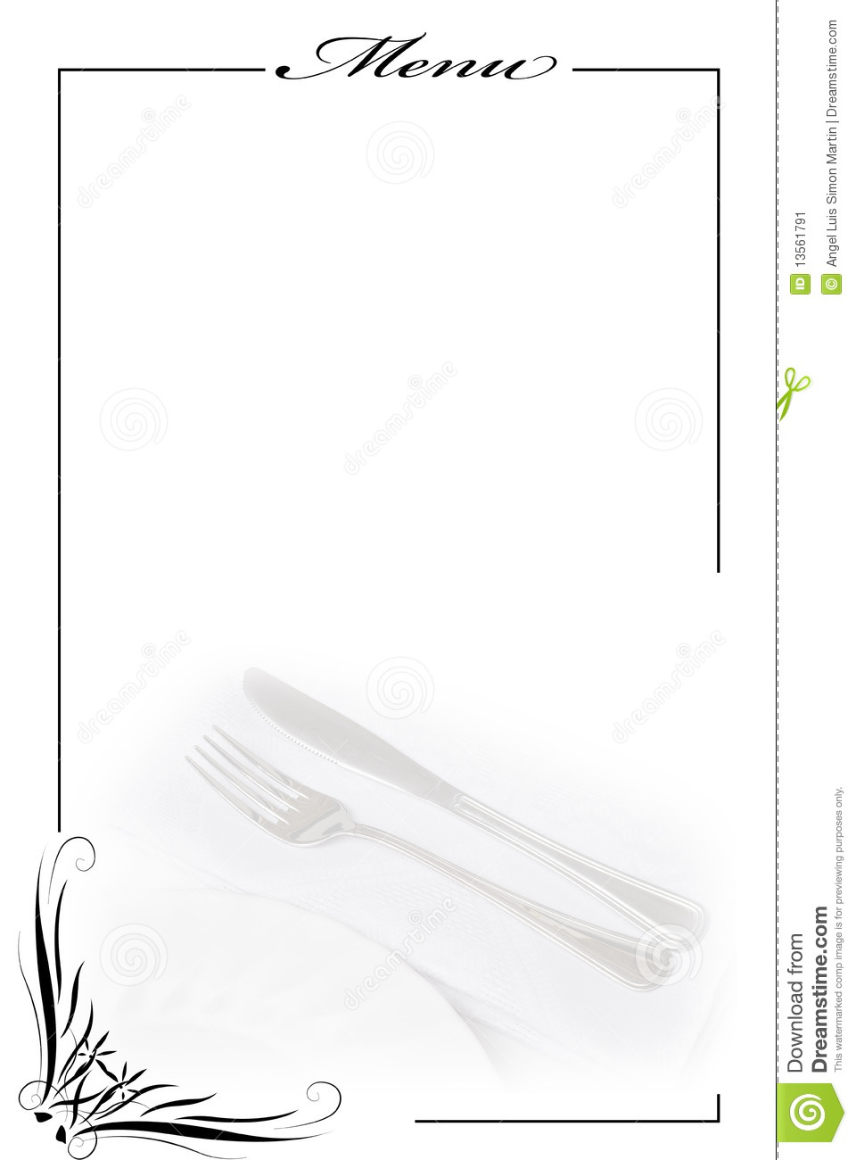 Menu Card In White Stock Image Of Dinner Catering