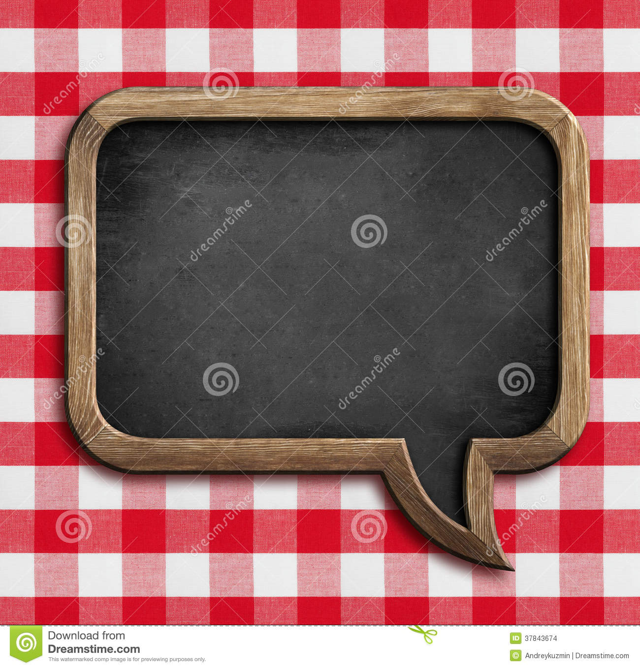 Menu Chalkboard Speech Bubble On Picnic Tablecloth Stock ...
