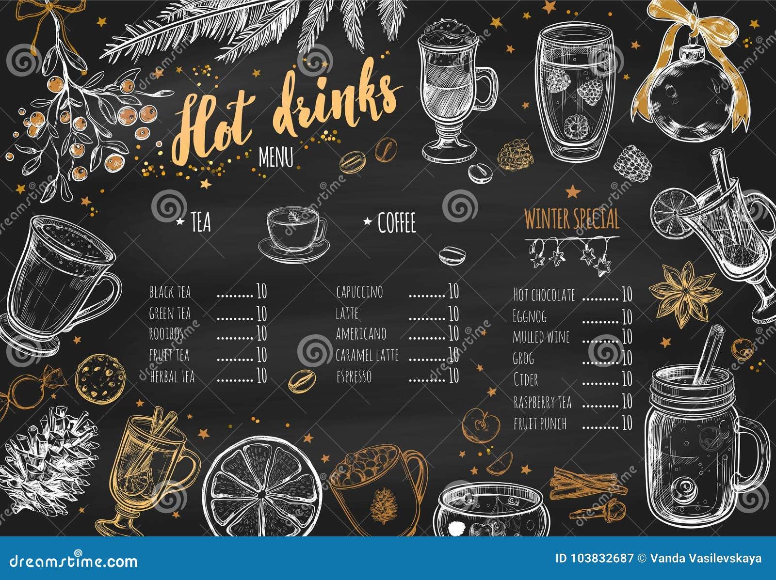 Menu chaud d hiver de boissons Le calibre de conception inclut les illustrations et le lettrage tirés par la main différents de B