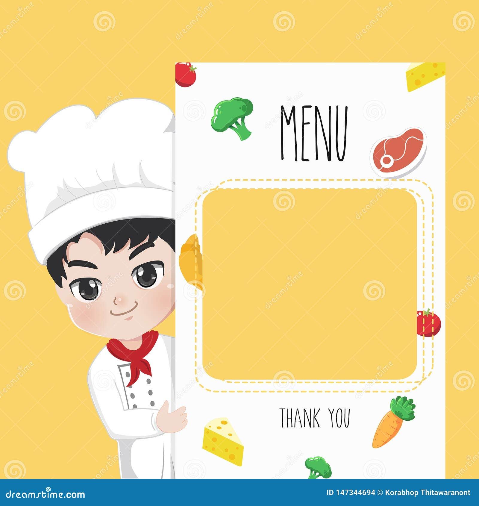 Printing menu chef cute boy.