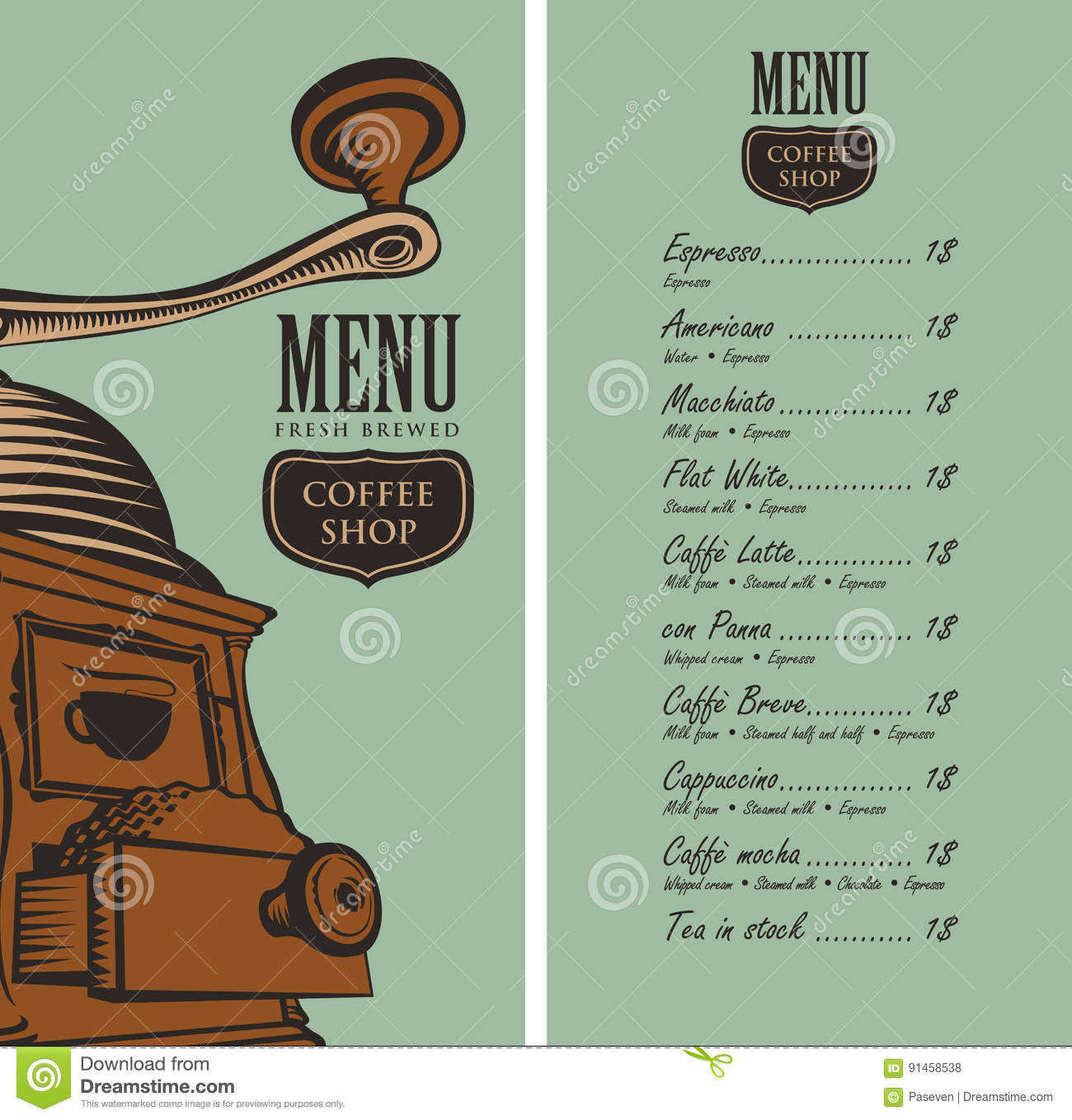 Menu for coffee shop with coffee grinder and price stock for Coffee price list template