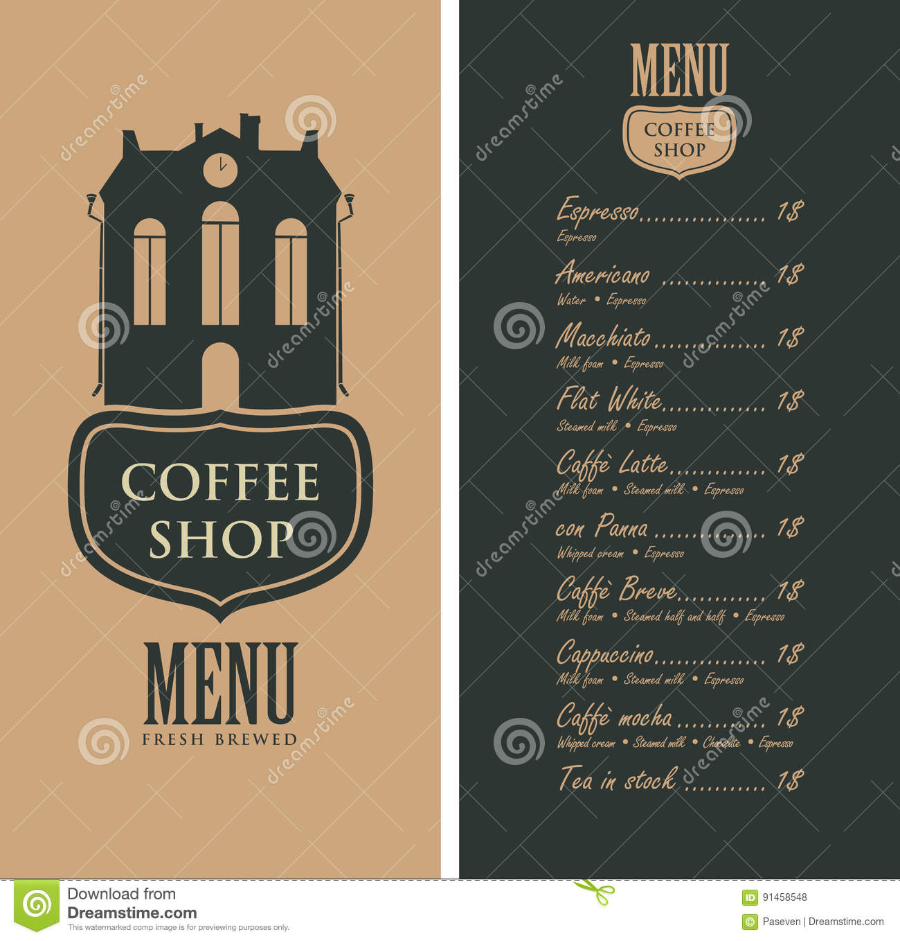 Menu for coffee shop with old house and price stock vector for Coffee price list template