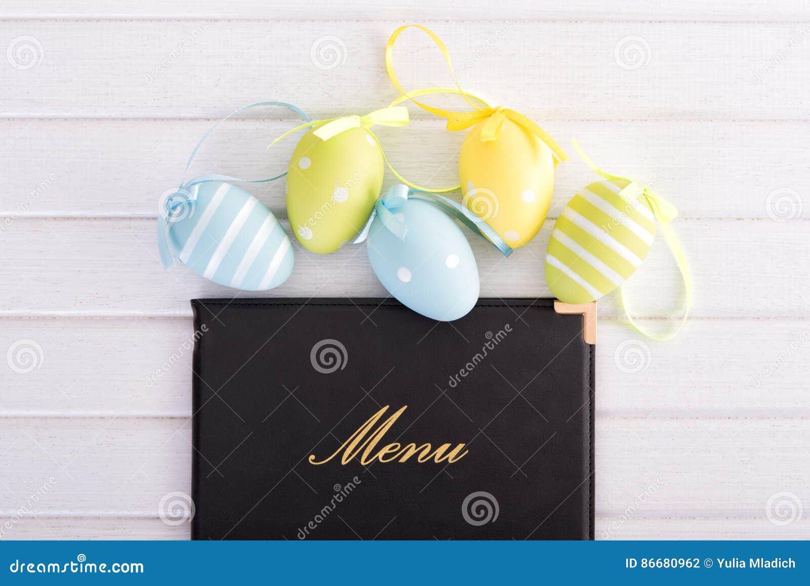 Menu com ovos da páscoa