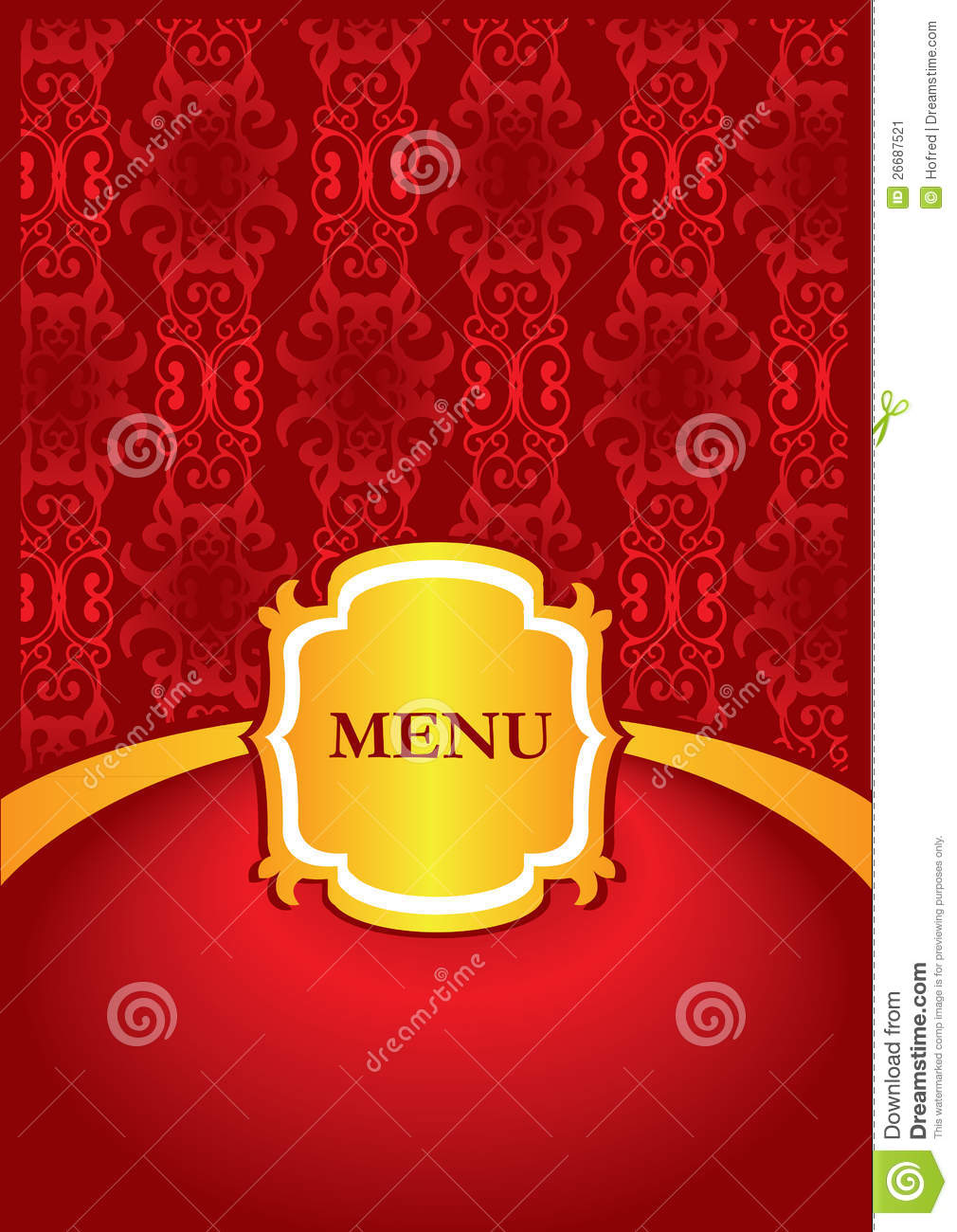 Menu cover design stock image