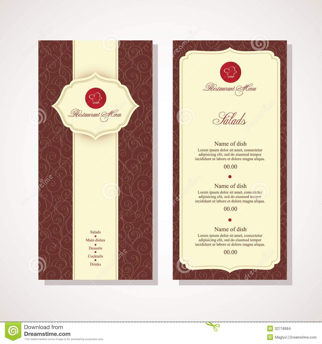Menu cover stock vector image of design illustration