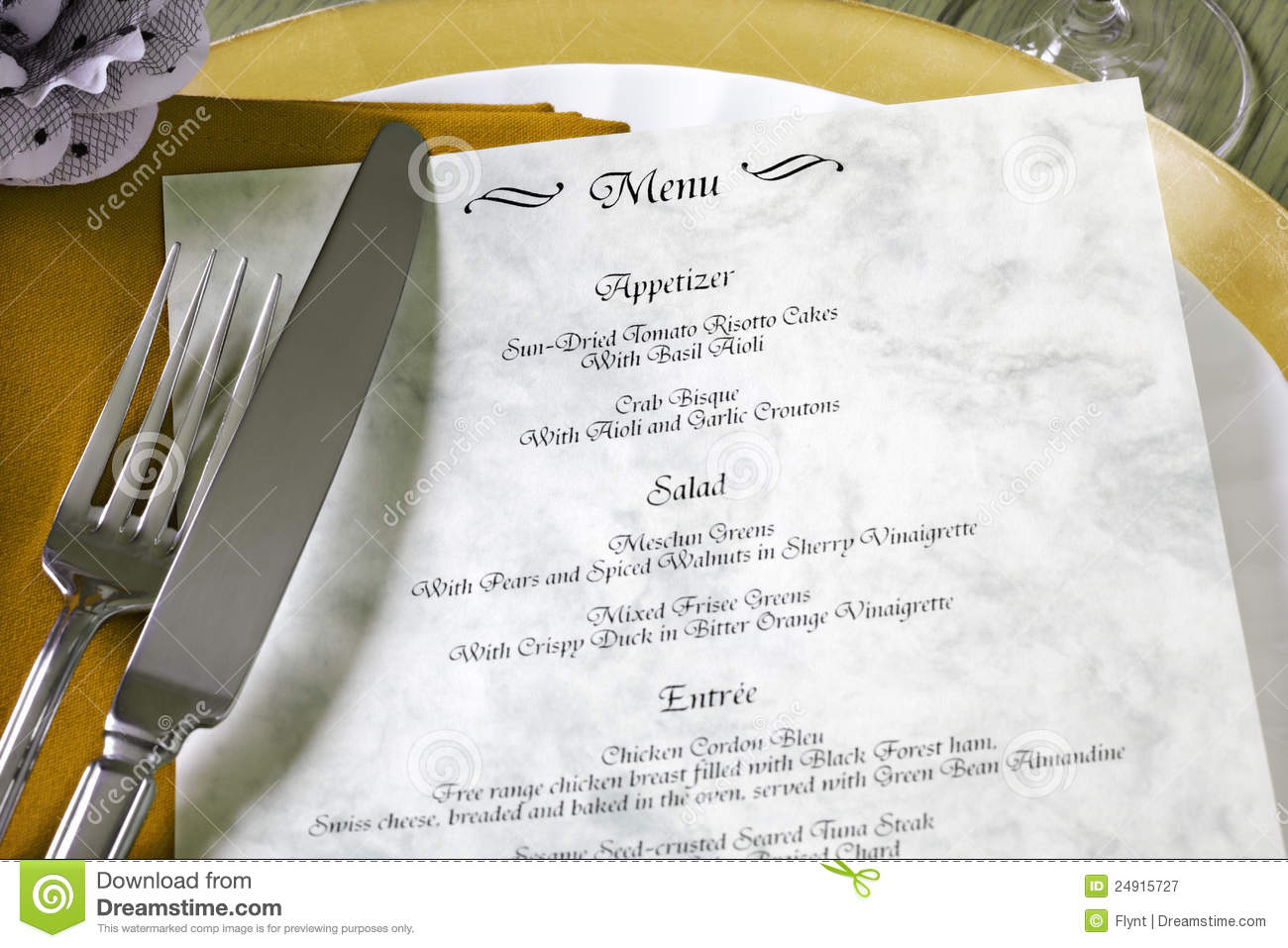 Menu and cutlery on restaurant table royalty free stock for Table menu restaurant