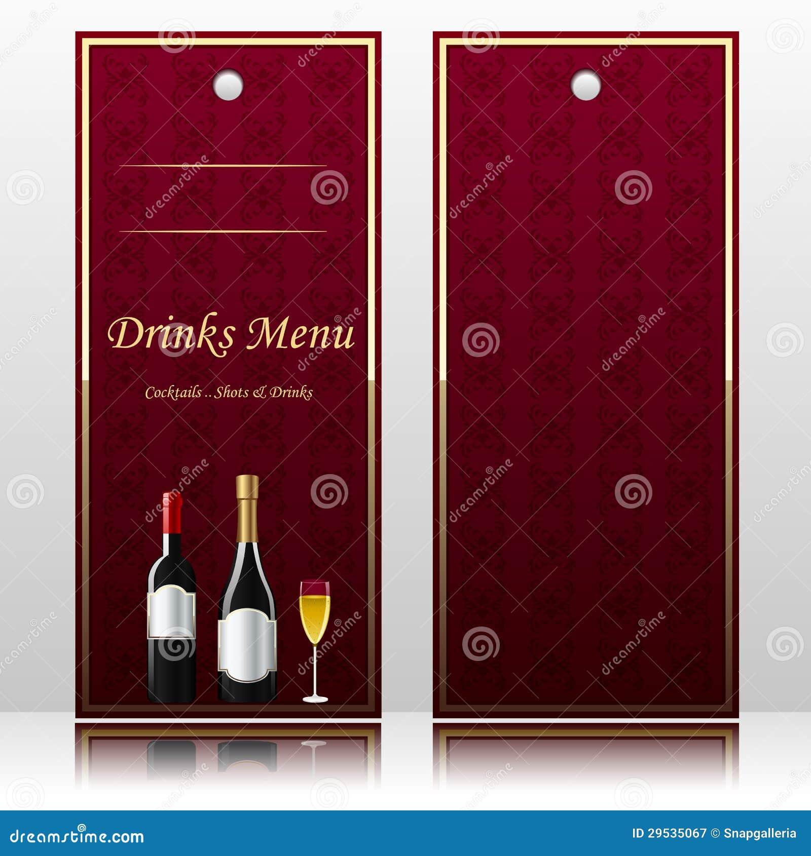 Menu da barra para bebidas