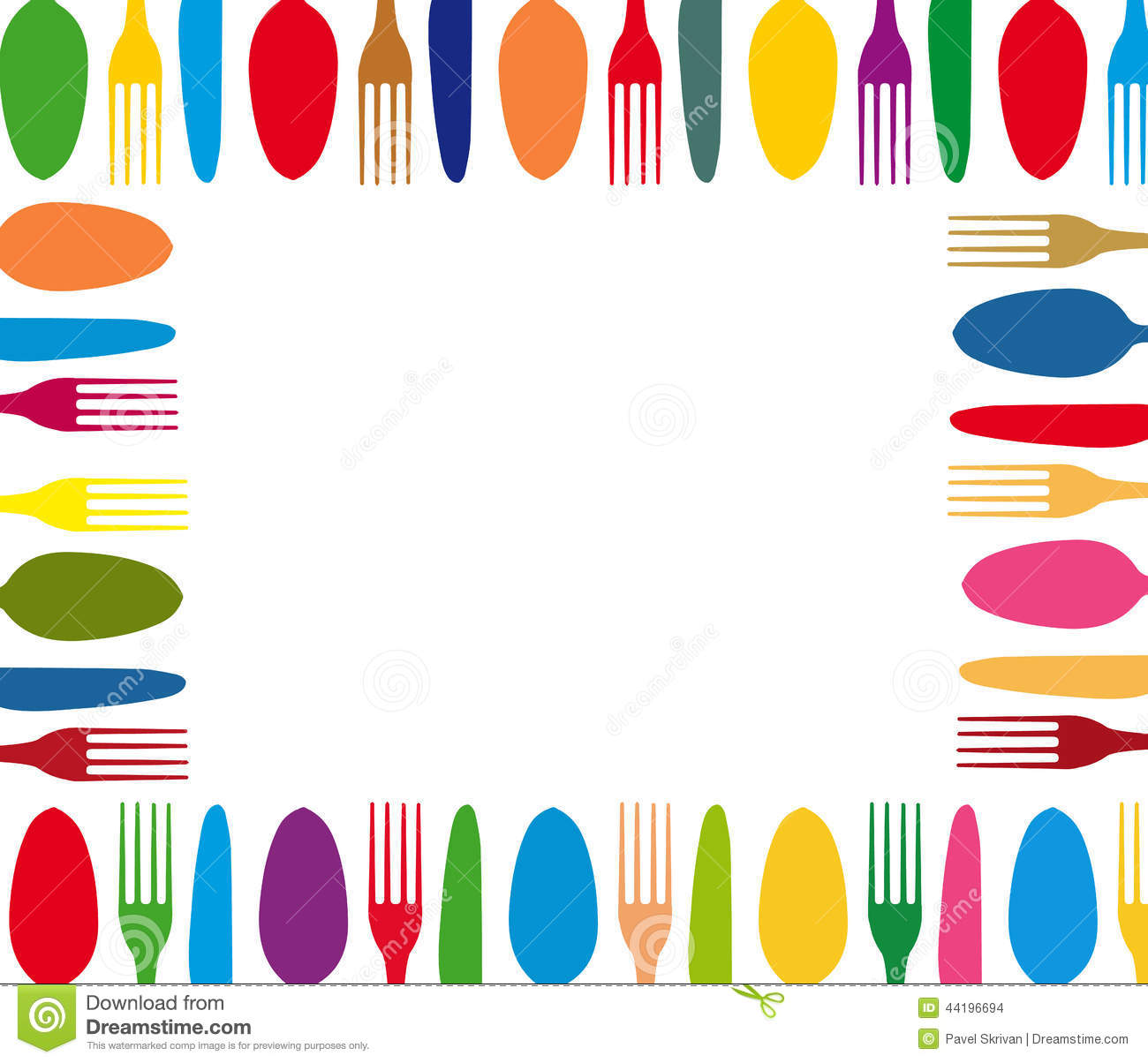 Menu De Fond De Couleur De Couverts Illustration Stock