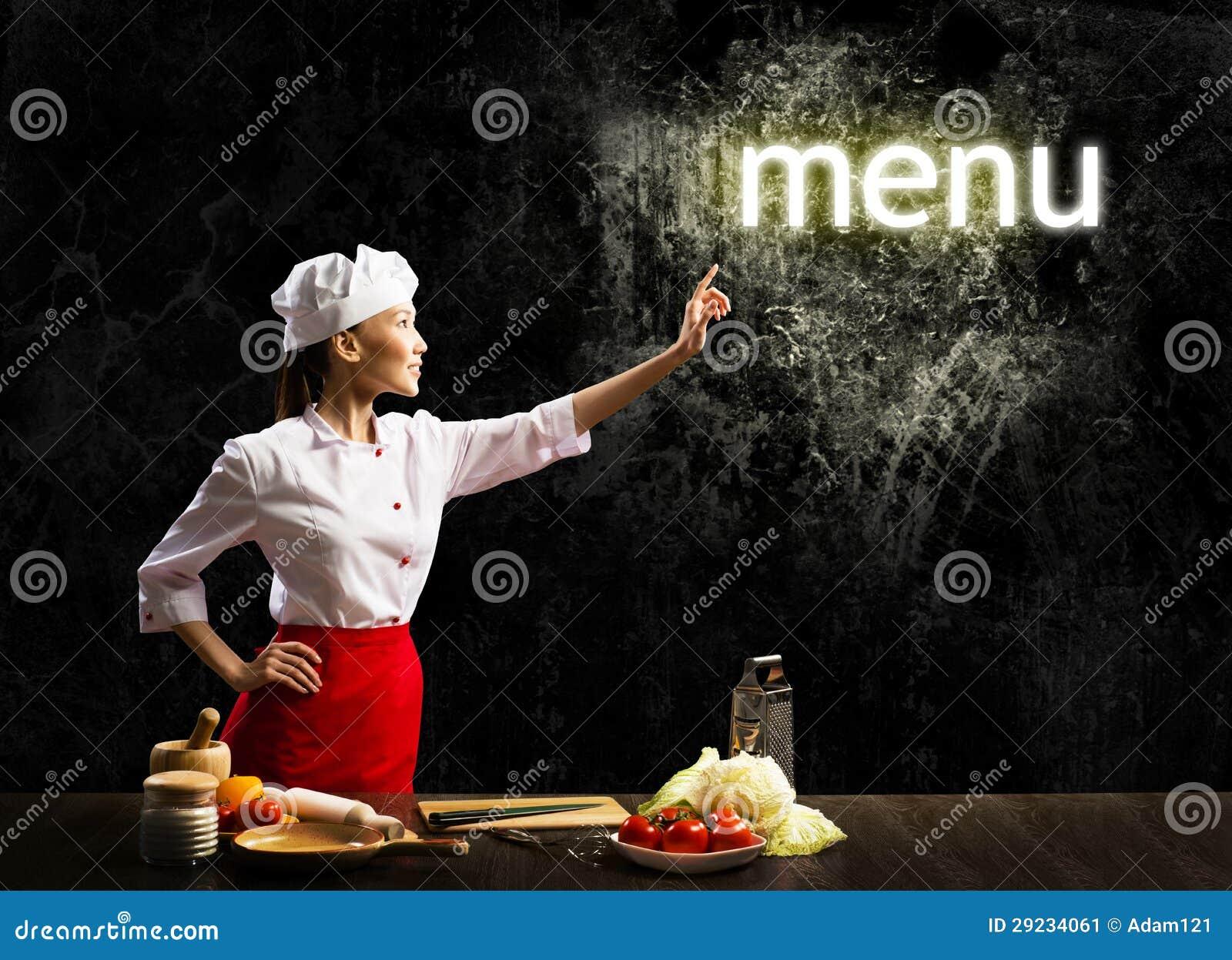 Download Menu De Incandescência Da Palavra Do Toque Do Cozinheiro Da Mulher Imagem de Stock - Imagem de feliz, cuisine: 29234061