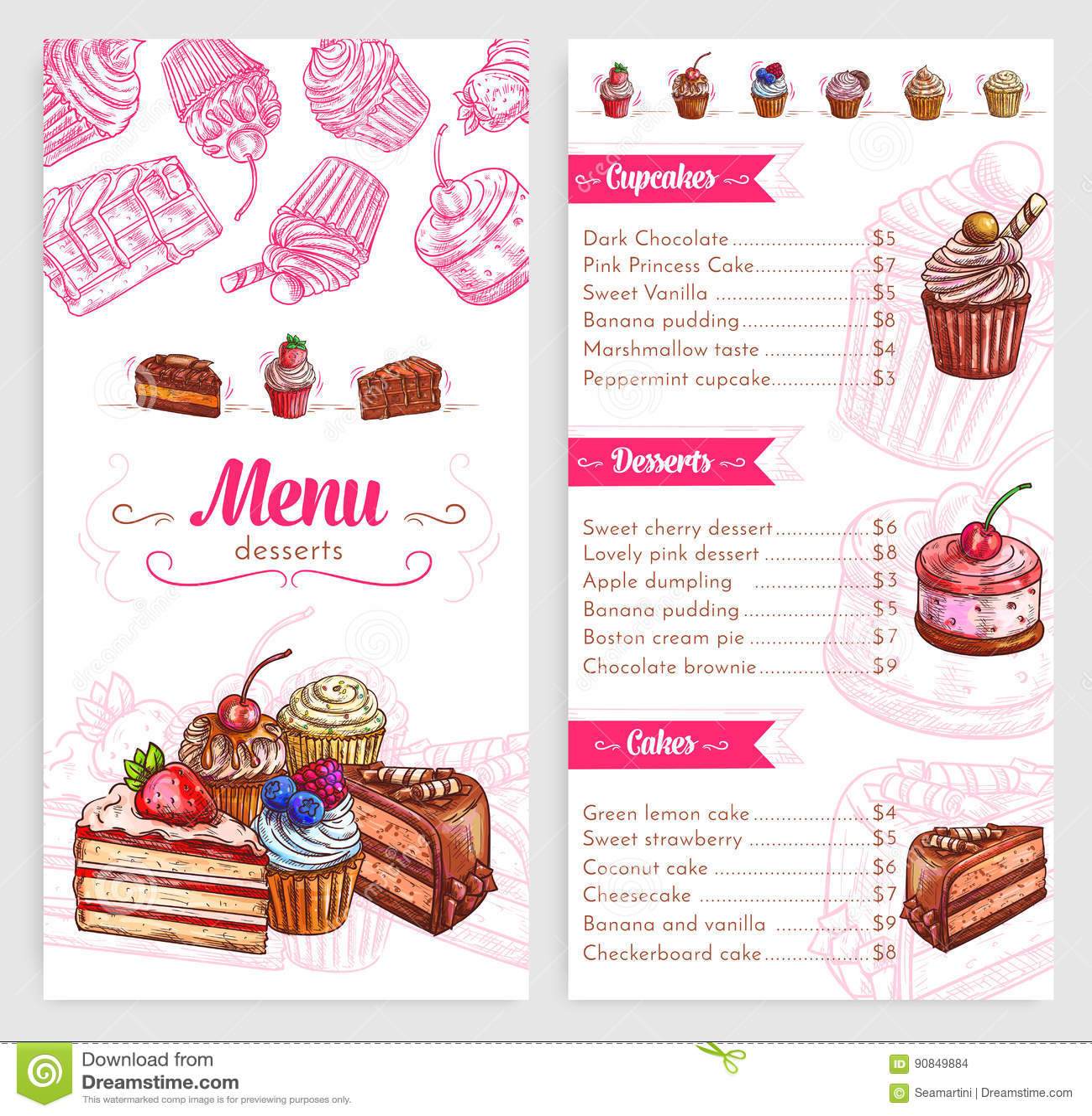 Menu De Pâtisserie De Vecteur Avec Des Gâteaux Et Des Tartes