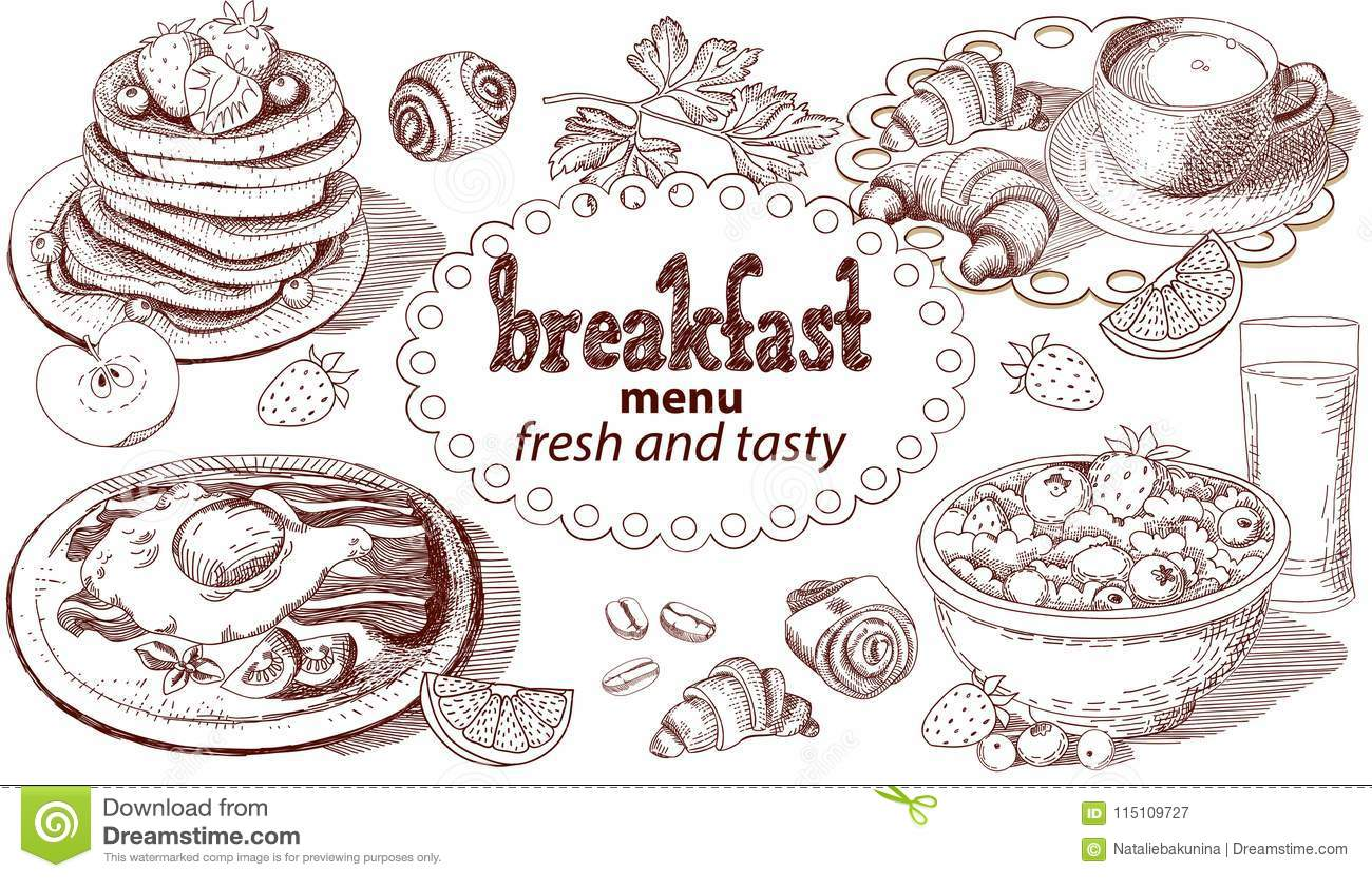Menu de petit déjeuner de croquis