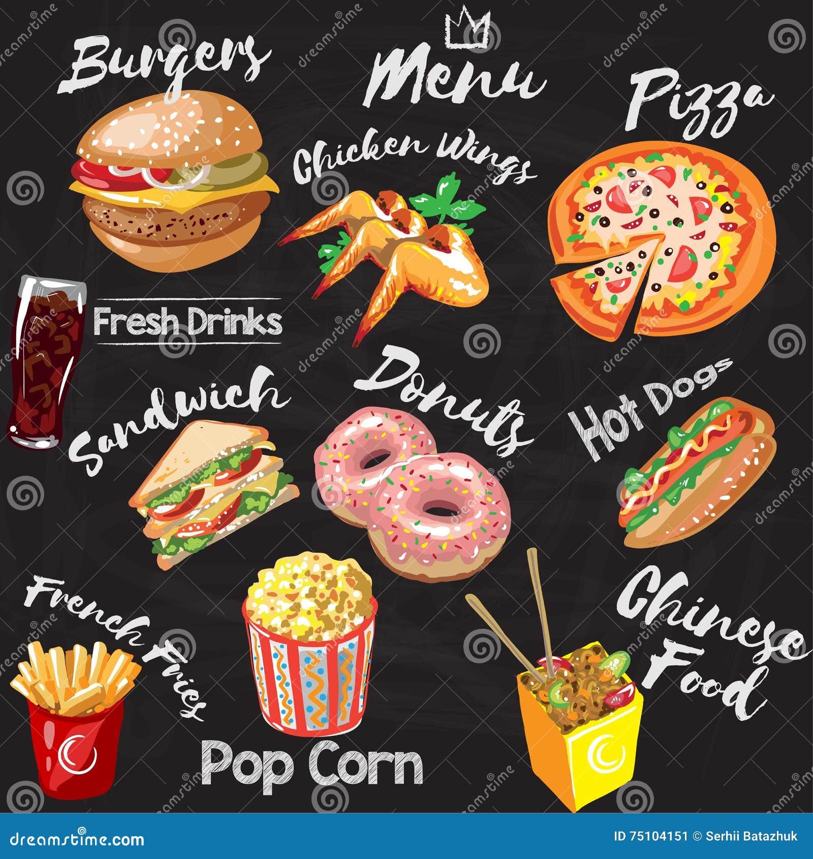 Menu de restaurant de prêt-à-manger de tableau - hamburger, pommes frites, hot dog, ailes de poulet, butées toriques, pizza, maïs