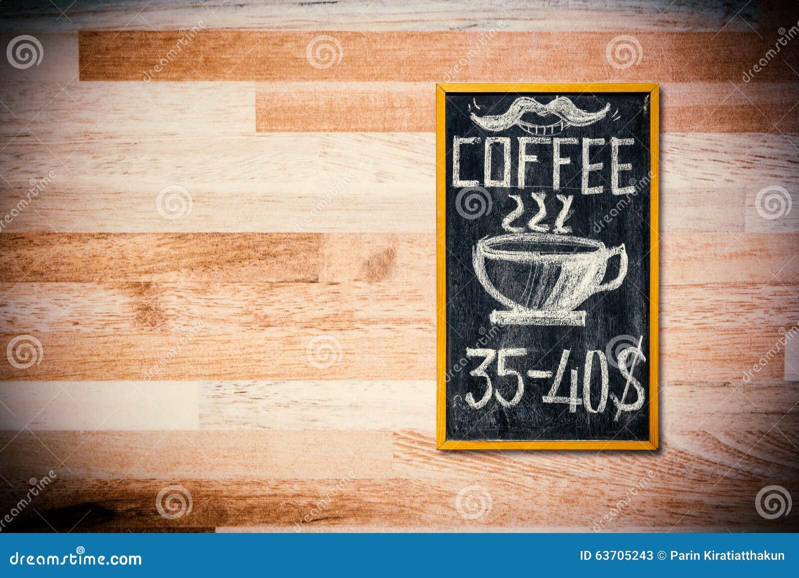 Parete Di Lavagna Prezzo : Menu del caffè sulla parete di legno illustrazione di stock