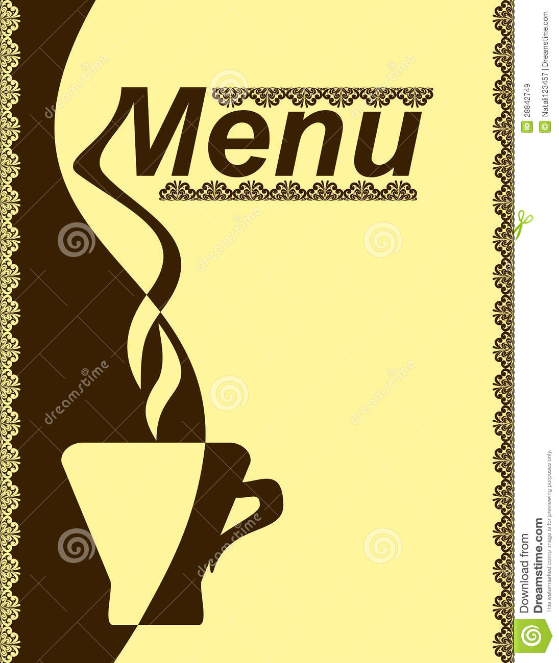Menu Design For A Cafe. Royalty Free Stock Images - Image: 28842749
