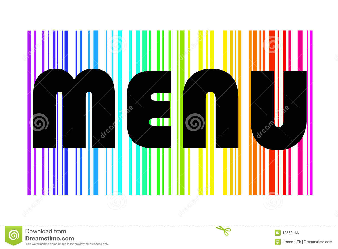 menu design in colorful rainbow stock illustration - illustration of
