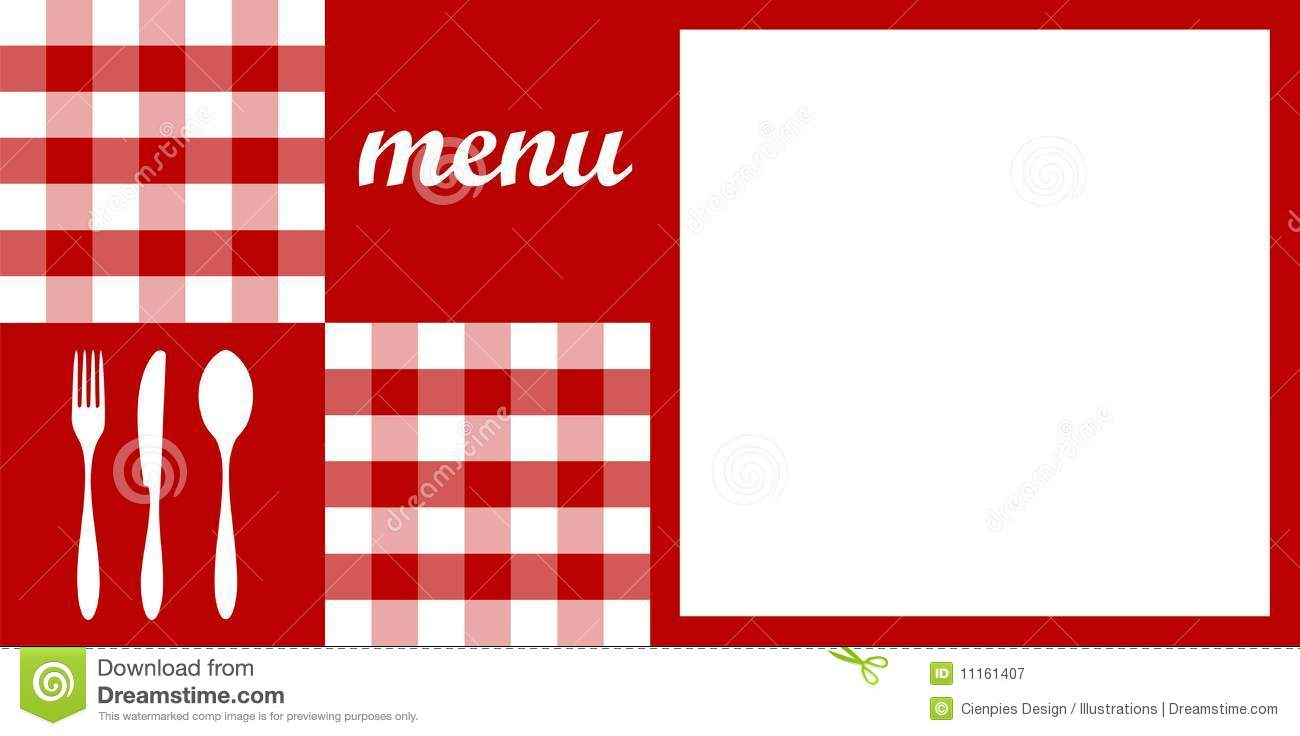 Food restaurant menu design with cutlery silhouettes red tablecloth