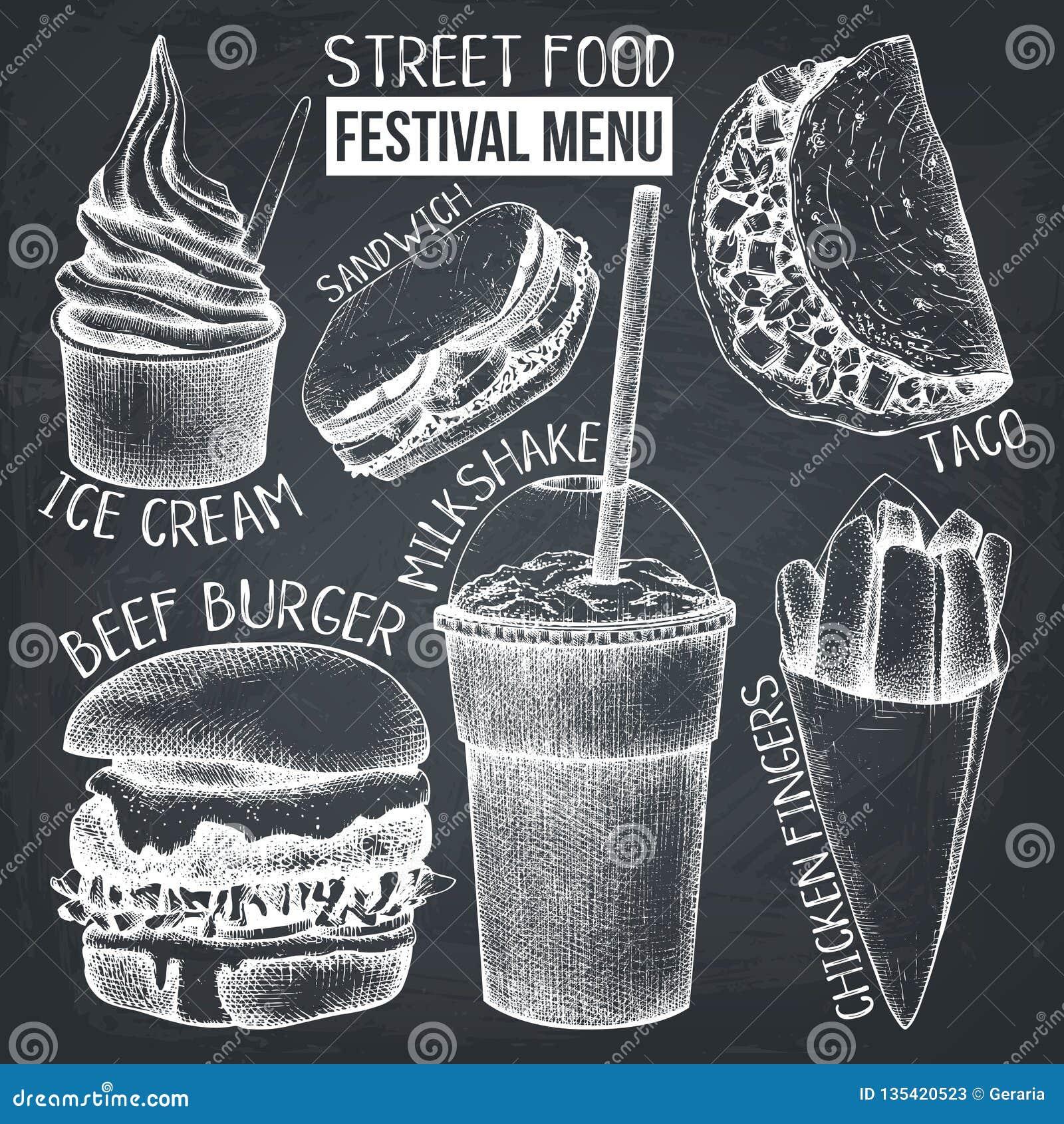 Menu di festival dell alimento della via Raccolta d annata di schizzo Insieme degli alimenti a rapida preparazione sulla lavagna