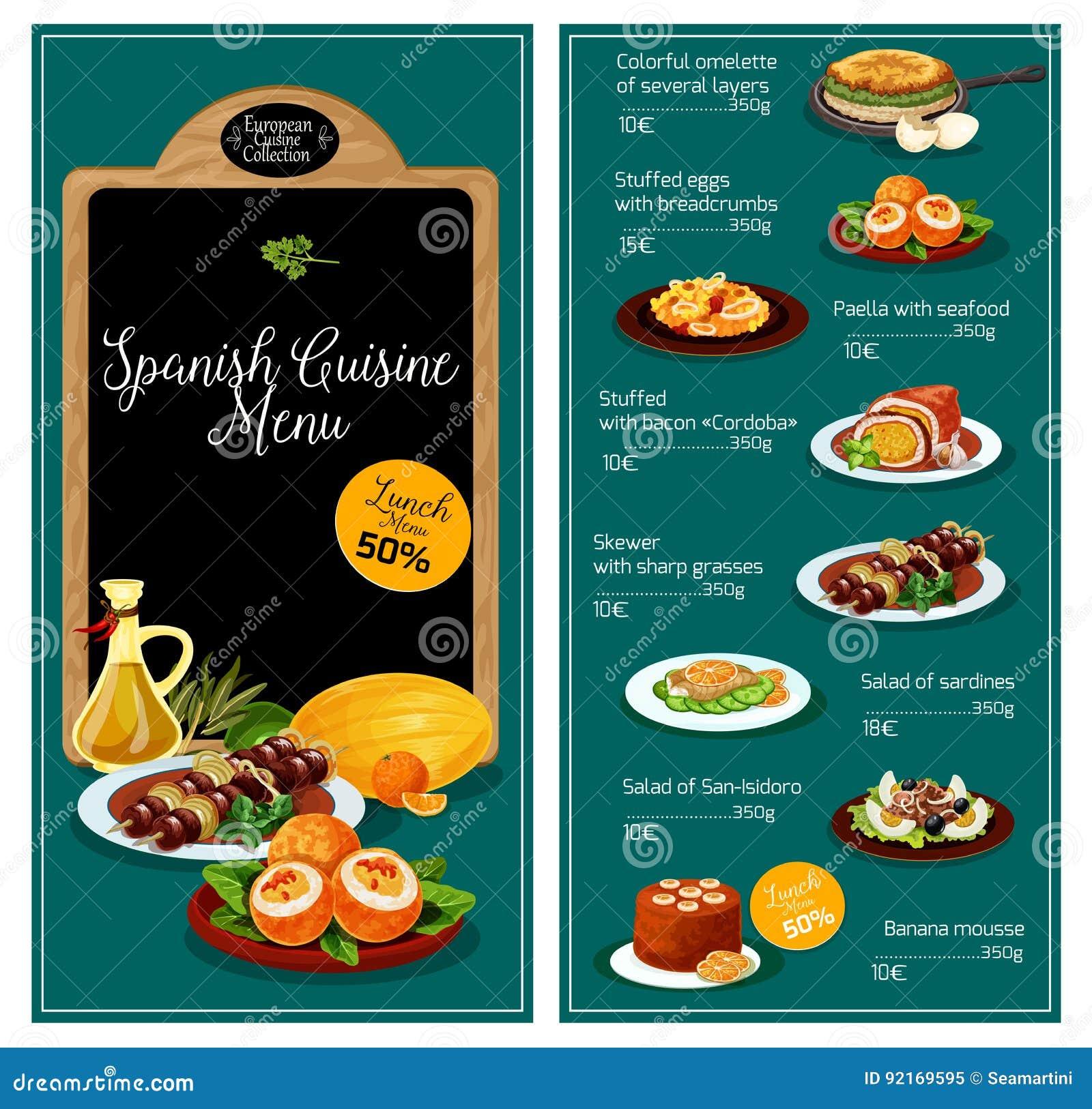Menu Di Vettore Per Il Ristorante Spagnolo Di Cucina