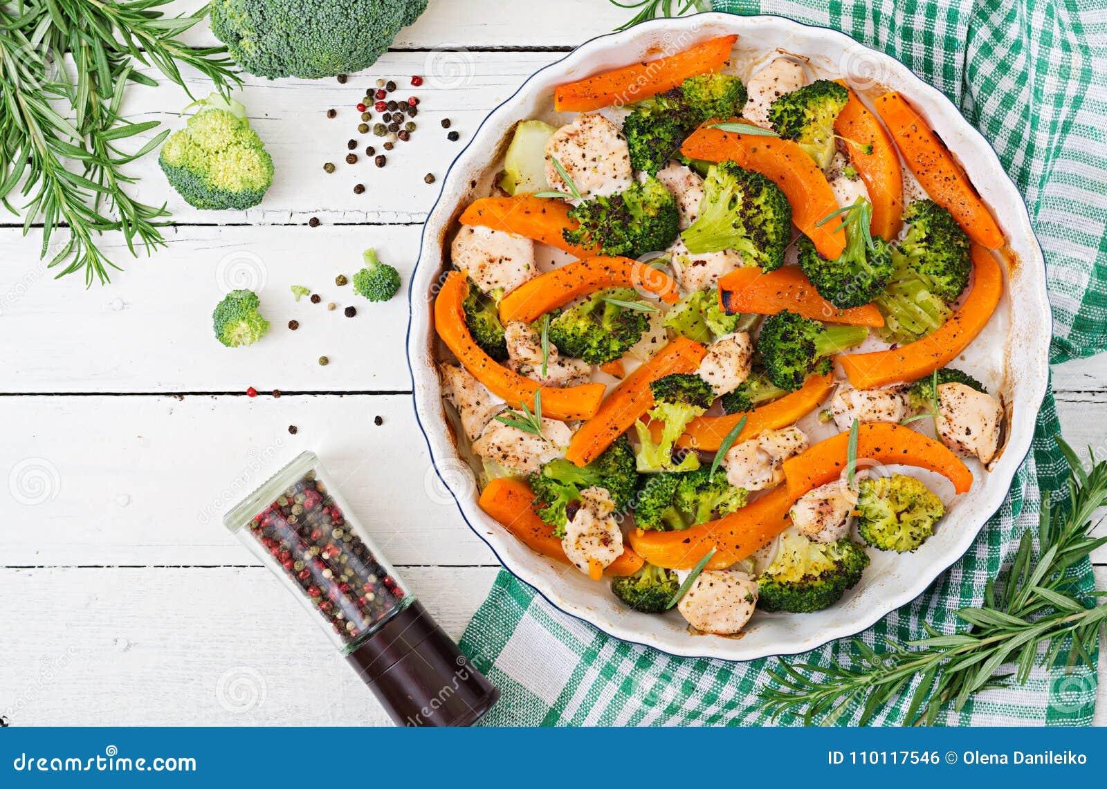 Menu dietético Faixa cozida da galinha com uns brócolis e uma abóbora com erva picante