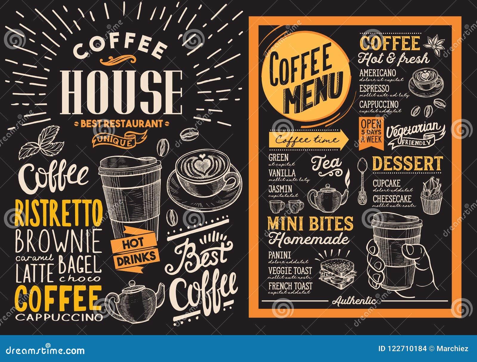 Menu do restaurante do café Inseto da bebida do vetor para a barra e o café des