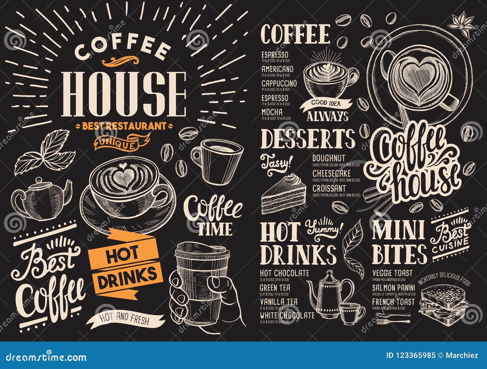 Menu do restaurante do café no quadro Inseto da bebida do vetor para a barra