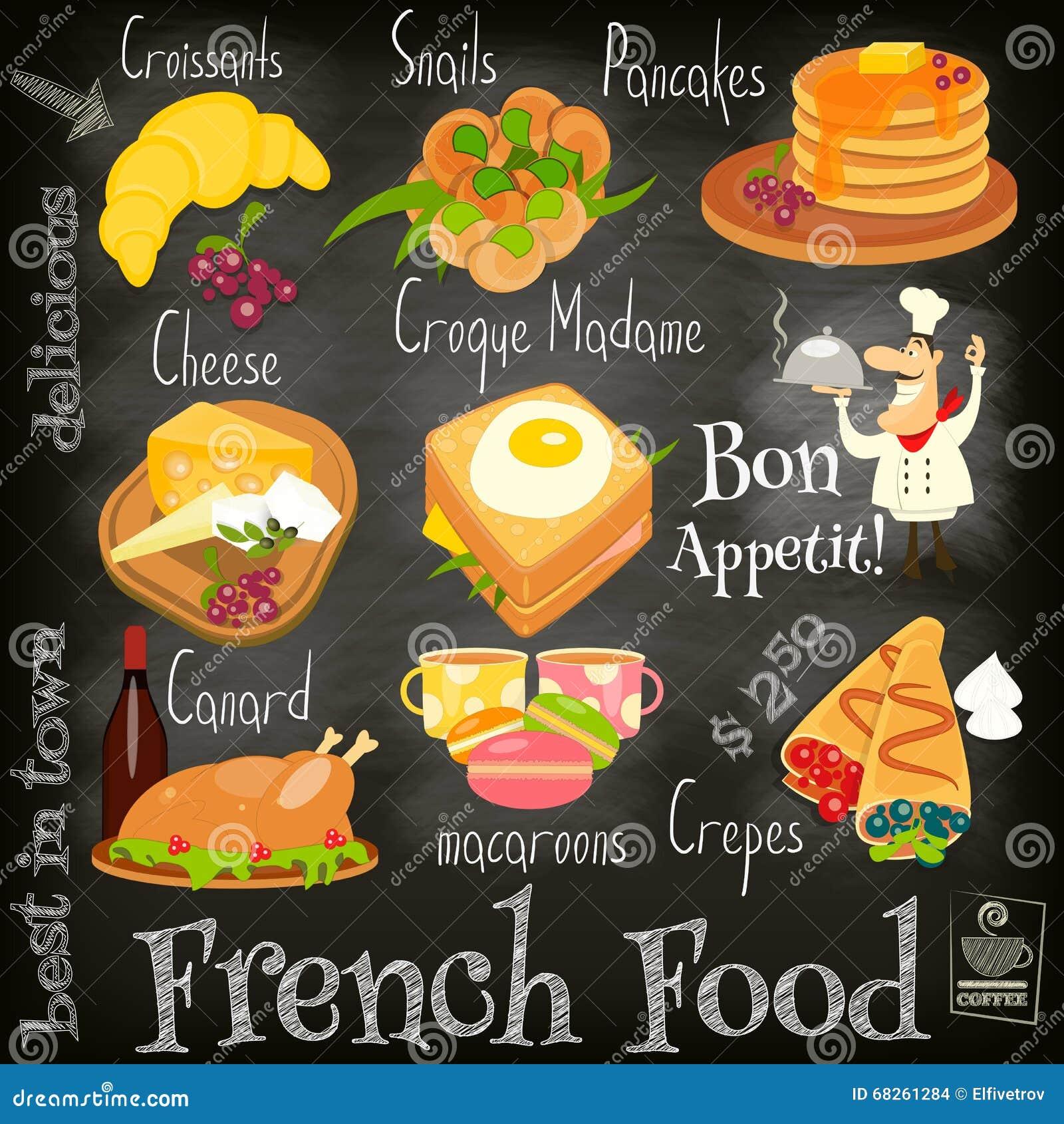 Menu fran ais de nourriture illustration de vecteur for French cuisine 3 modules