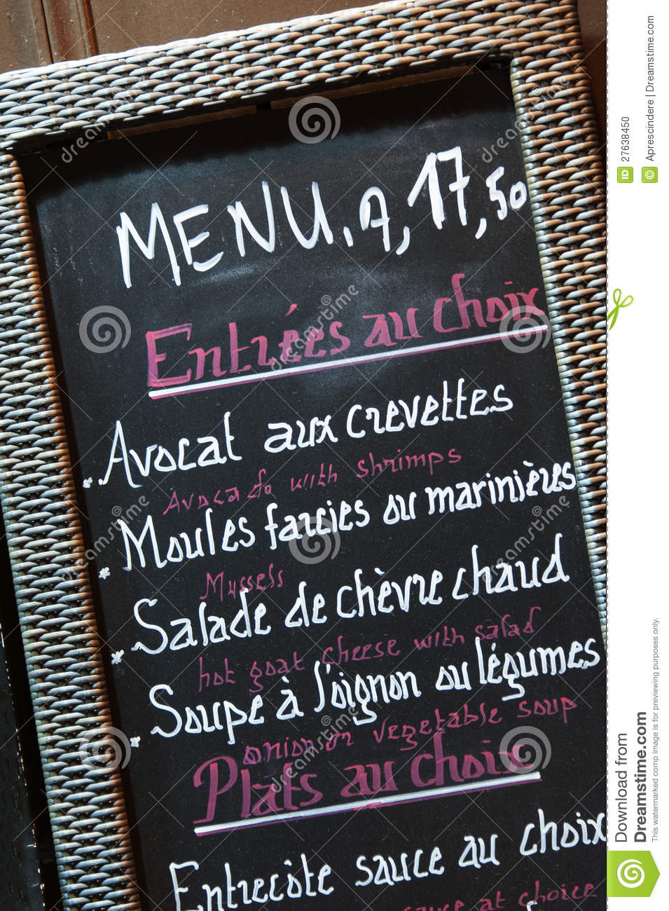 Menu francese del ristorante fotografia stock immagine for Menu tipico frances