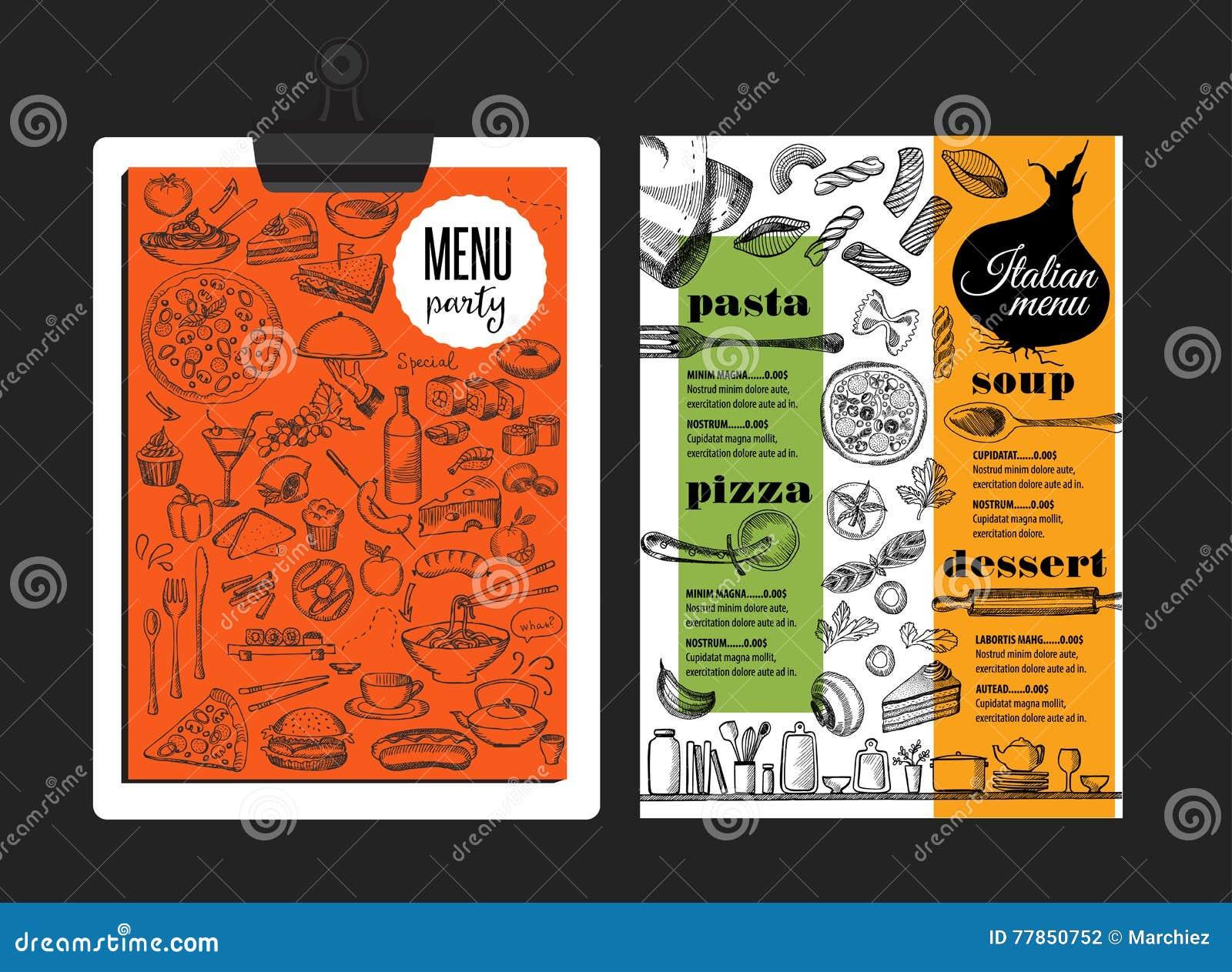 Menu Italian Restaurant Food Template Placemat Stock Vector Illustration Of Drawing Design 77850752
