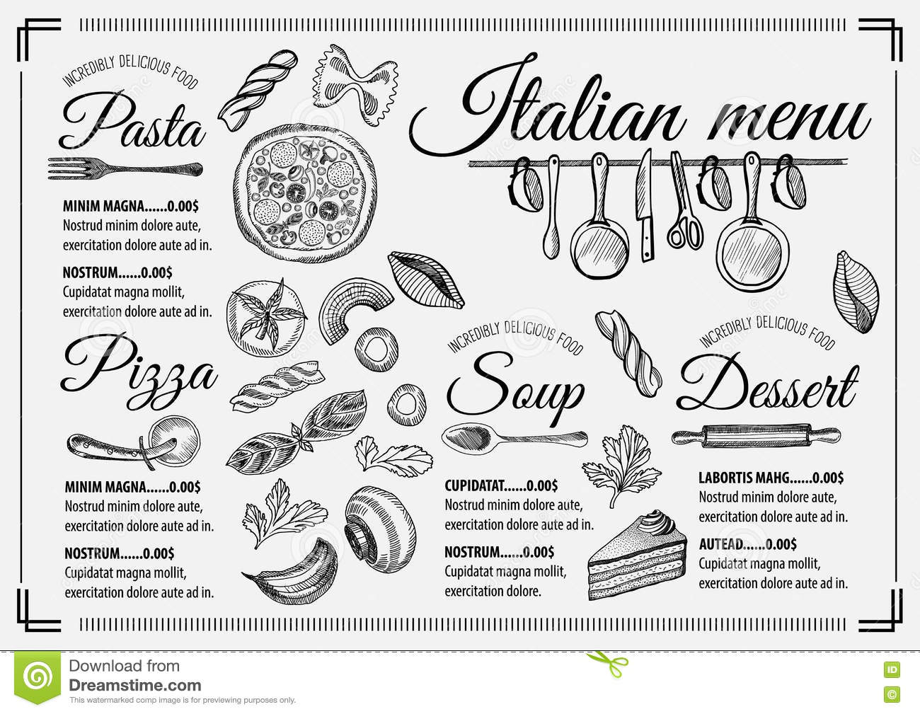 Menu Italian Restaurant Food Template Placemat Stock