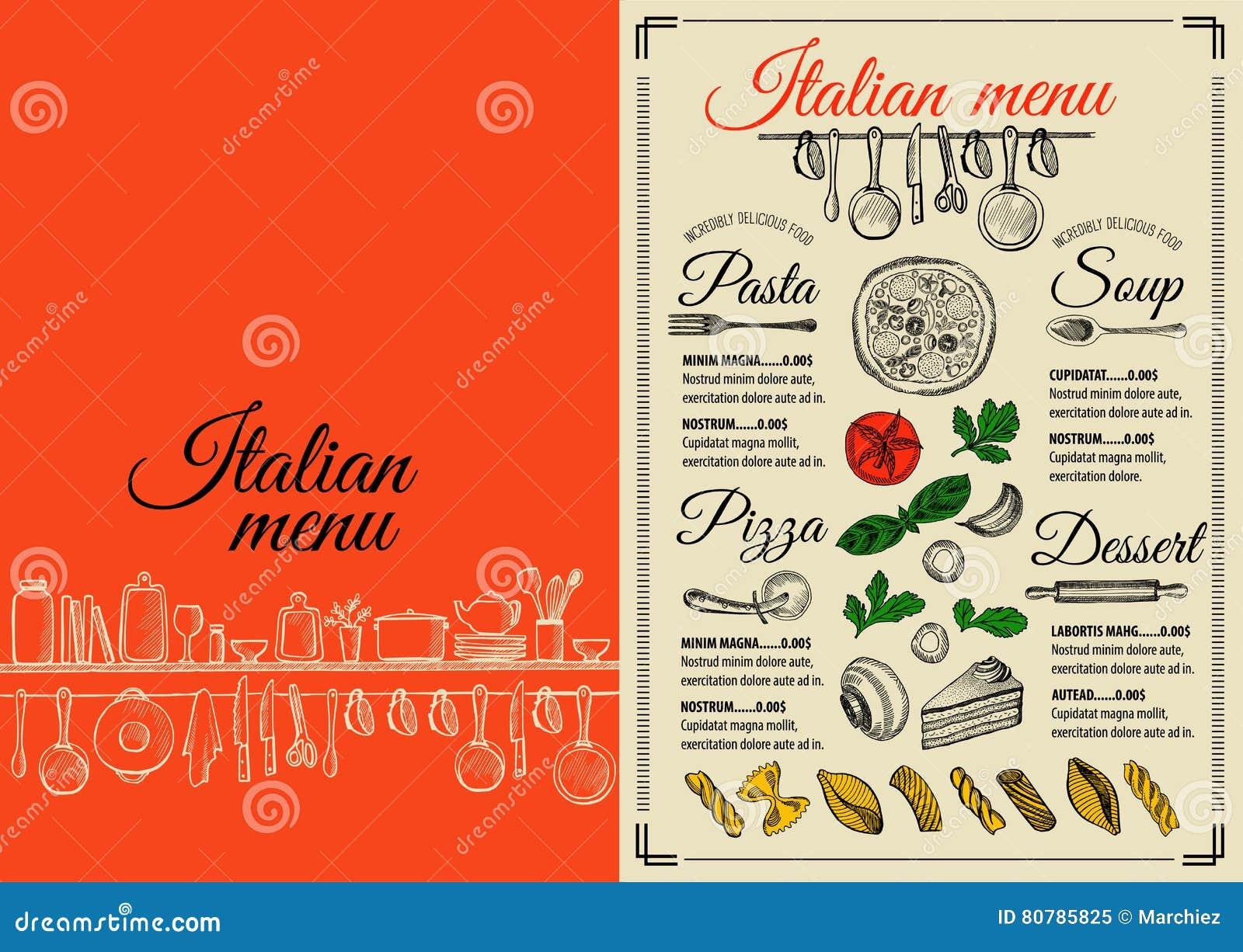 Menu Italian Restaurant Food Template Placemat Stock Vector Illustration Of Chalkboard Logo 80785825