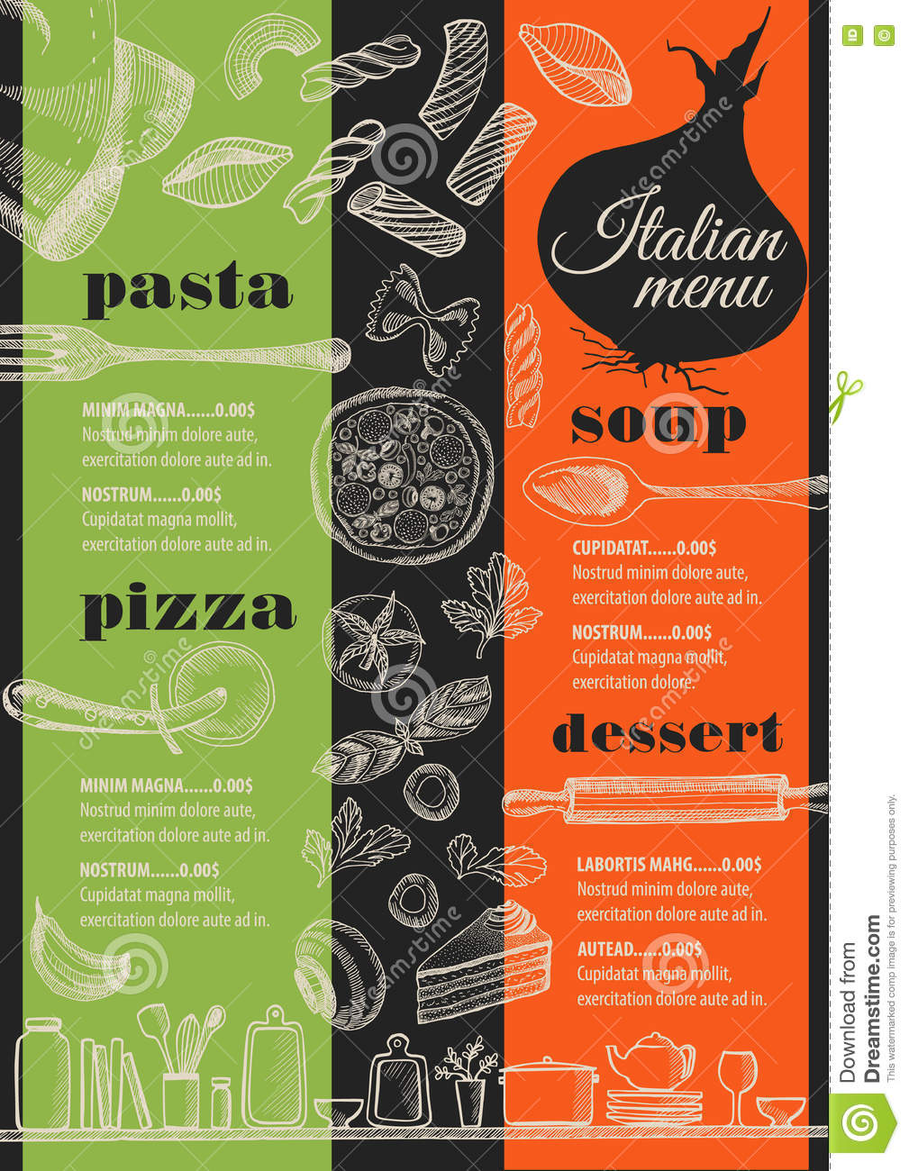 Menu Italian Restaurant Food Template Placemat Stock Vector Illustration Of Barbecue Doodle 81471575