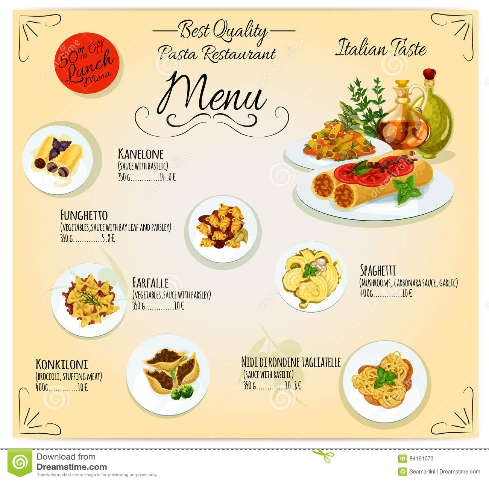 menu italiano di vettore del ristorante di cucina della