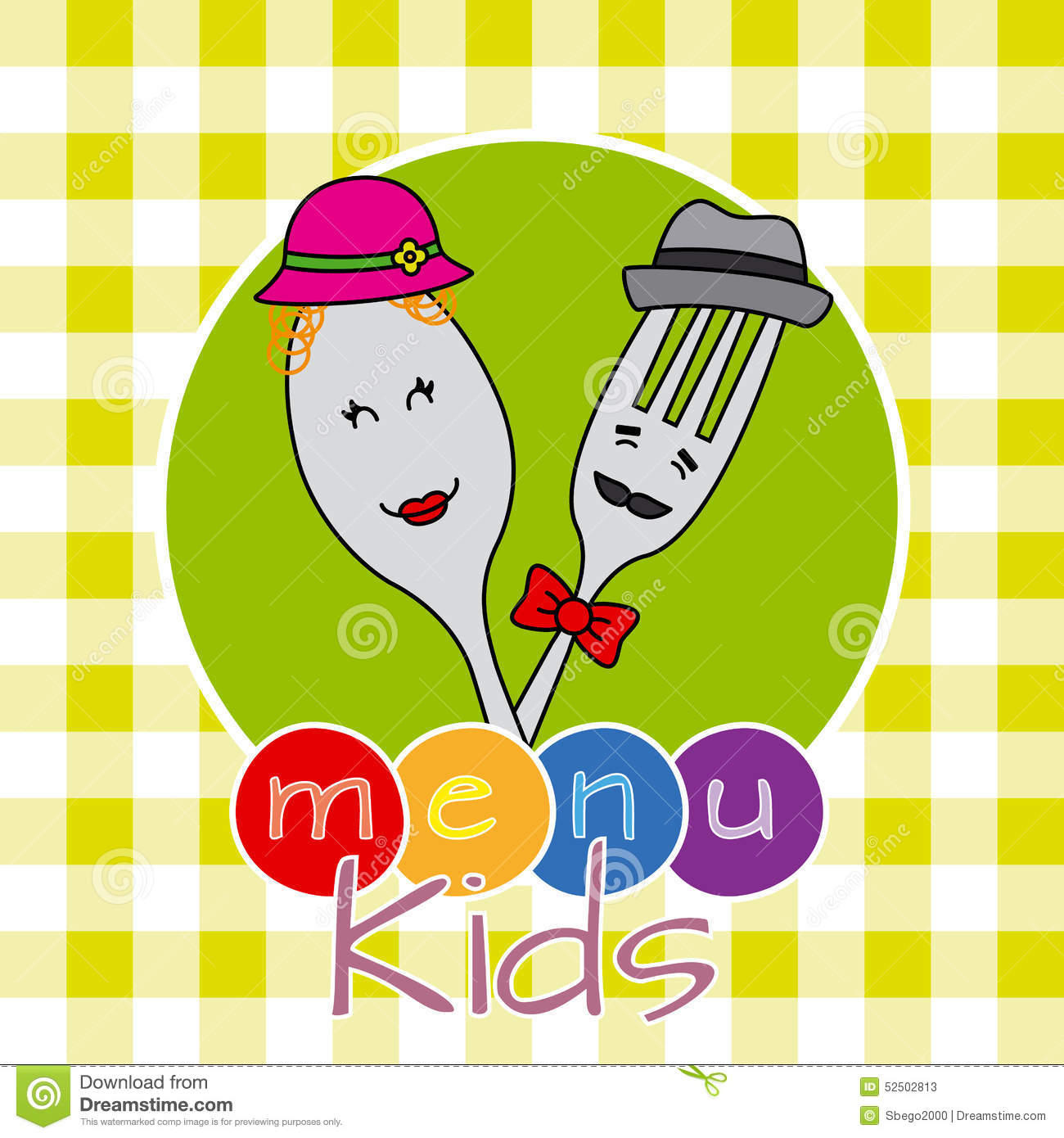 Funny card for kids menu. Spoon and fork disguised.