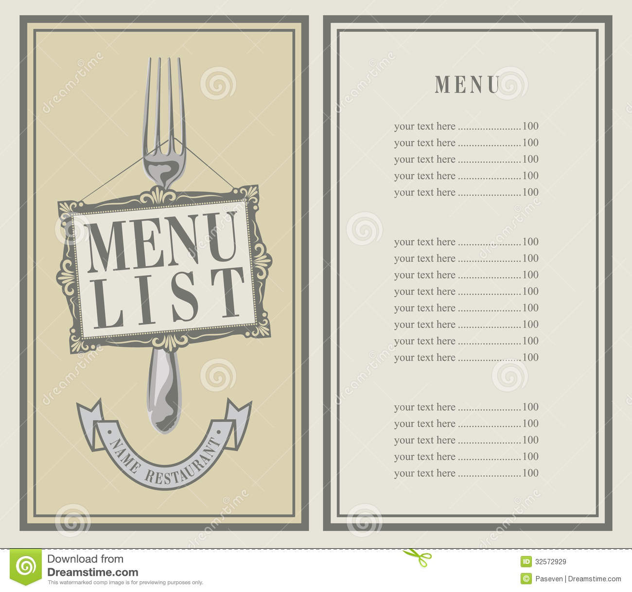 Menu List Stock Vector Image Of Dinner Decoration Font