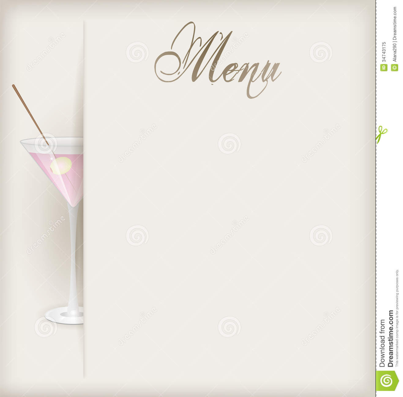 Menu with martini stock vector illustration of ornament for Free menu design templates