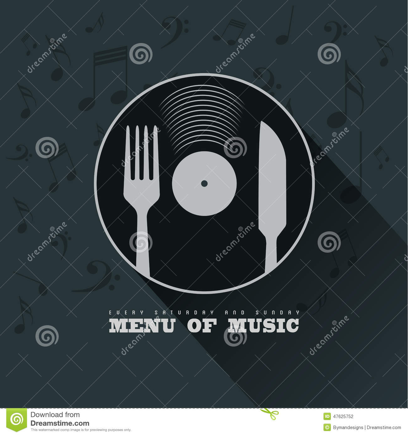 Menu Of Music With Vinyl, Knife ,fork And Musical Notes ...