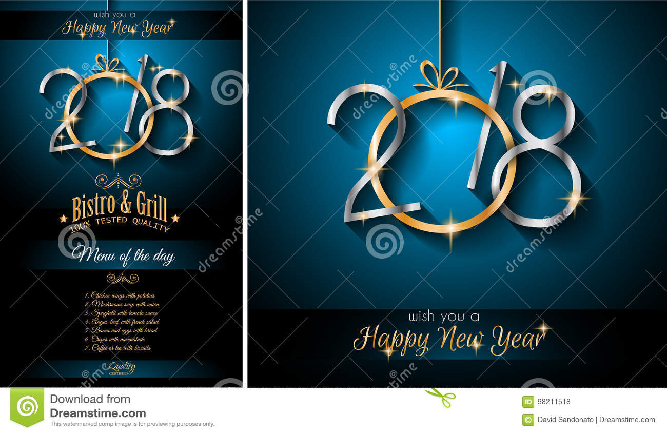 2018 menu new year background for your seasonal flyers and greetings card