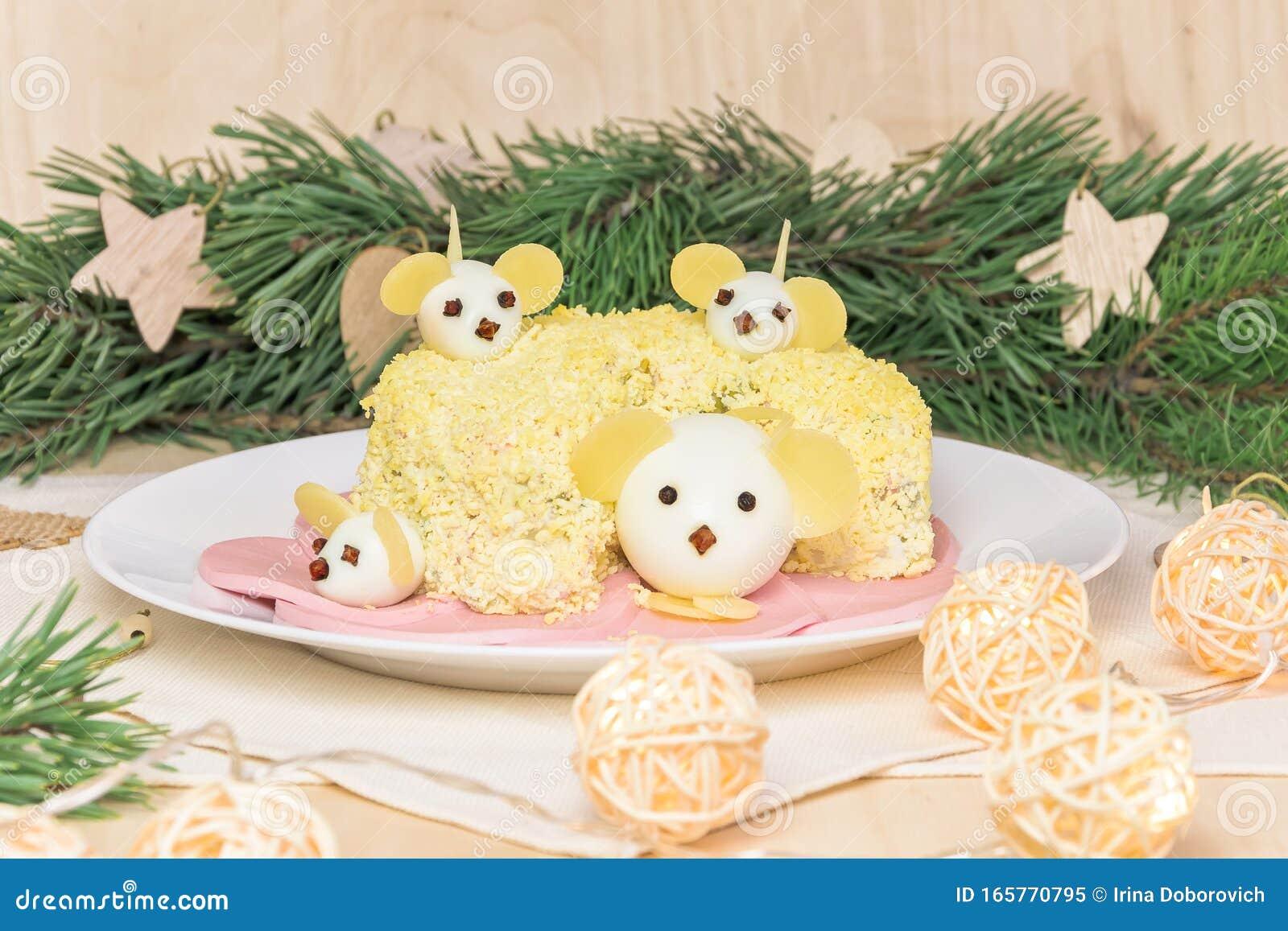 Menu For New Year. Holiday Christmas Salad 2020 New Year Cheese